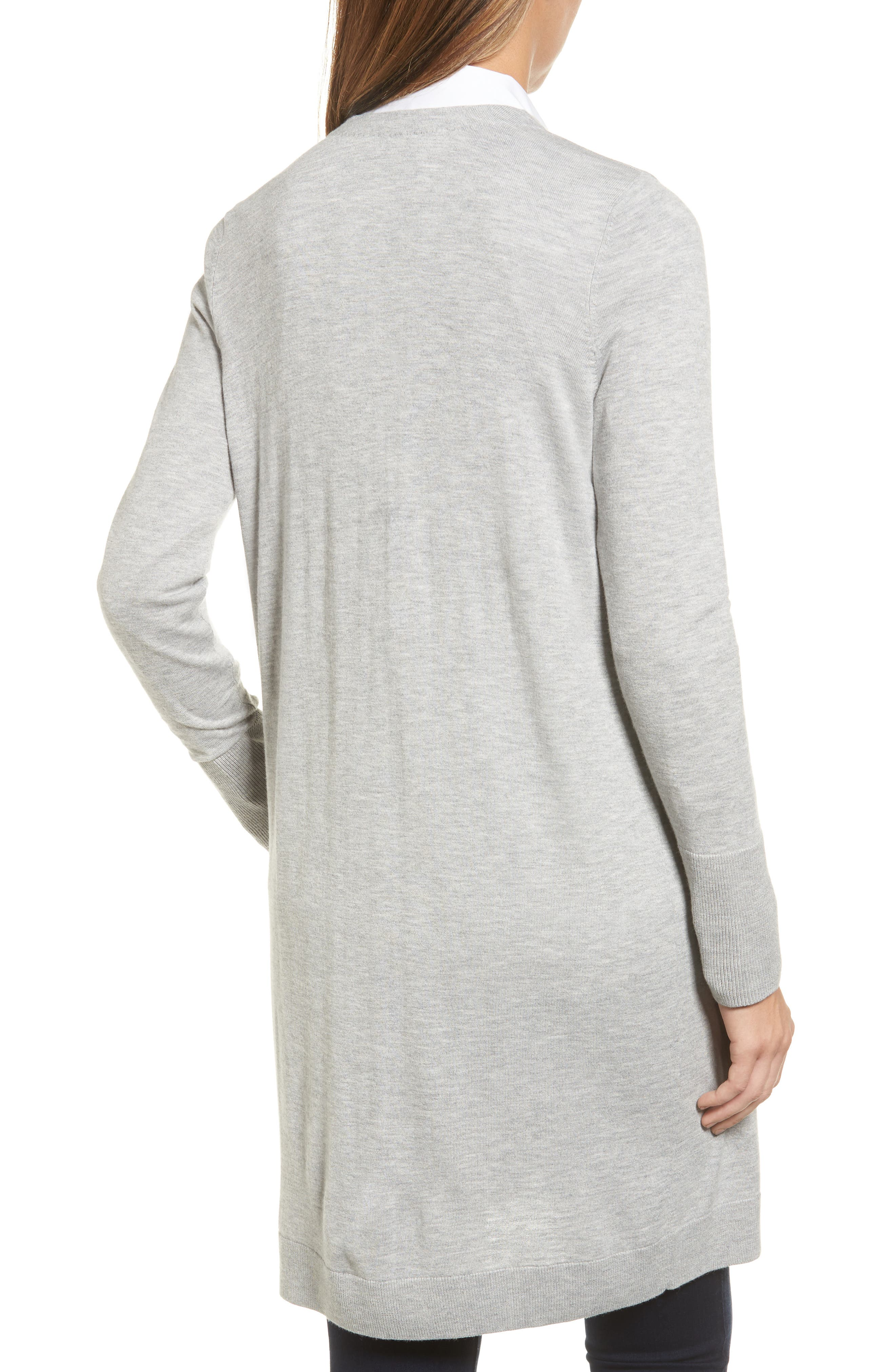 Alternate Image 2  - Halogen® Long Open Front Cardigan (Regular & Petite)