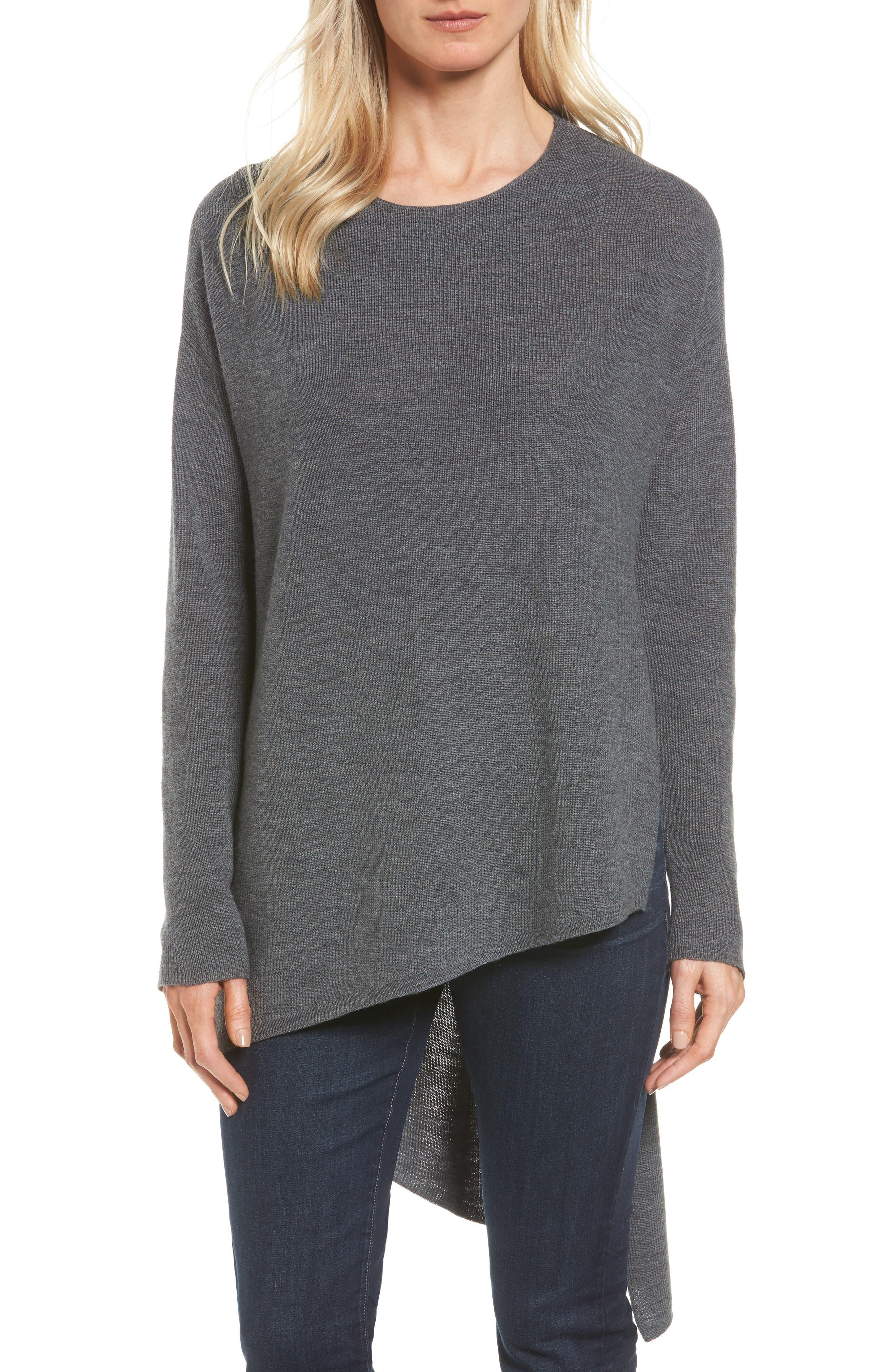 Eileen Fisher Asymmetrical Merino Wool Pullover (Regular & Petite)