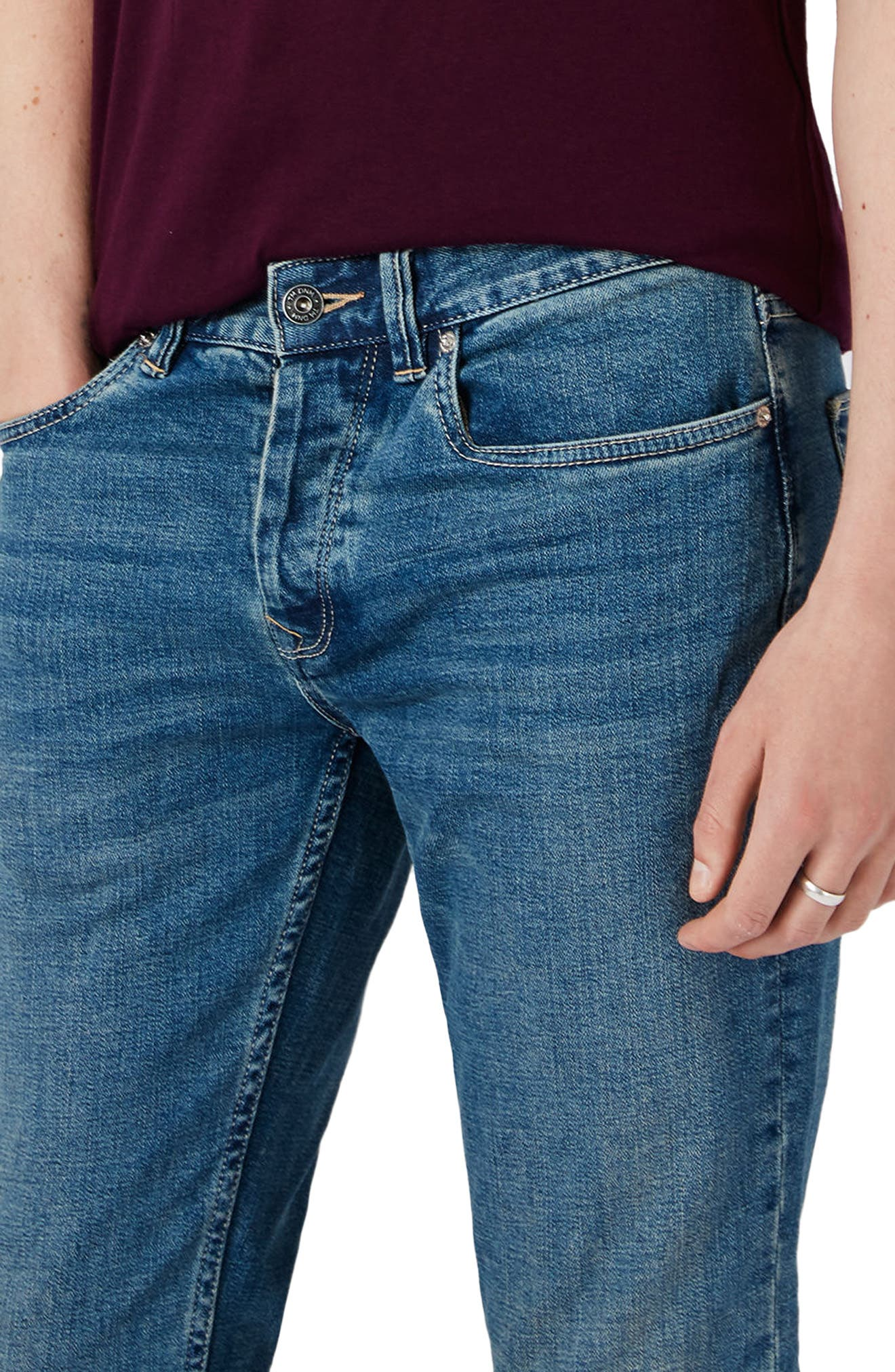 Stretch Slim Fit Jeans,                             Alternate thumbnail 4, color,                             Blue
