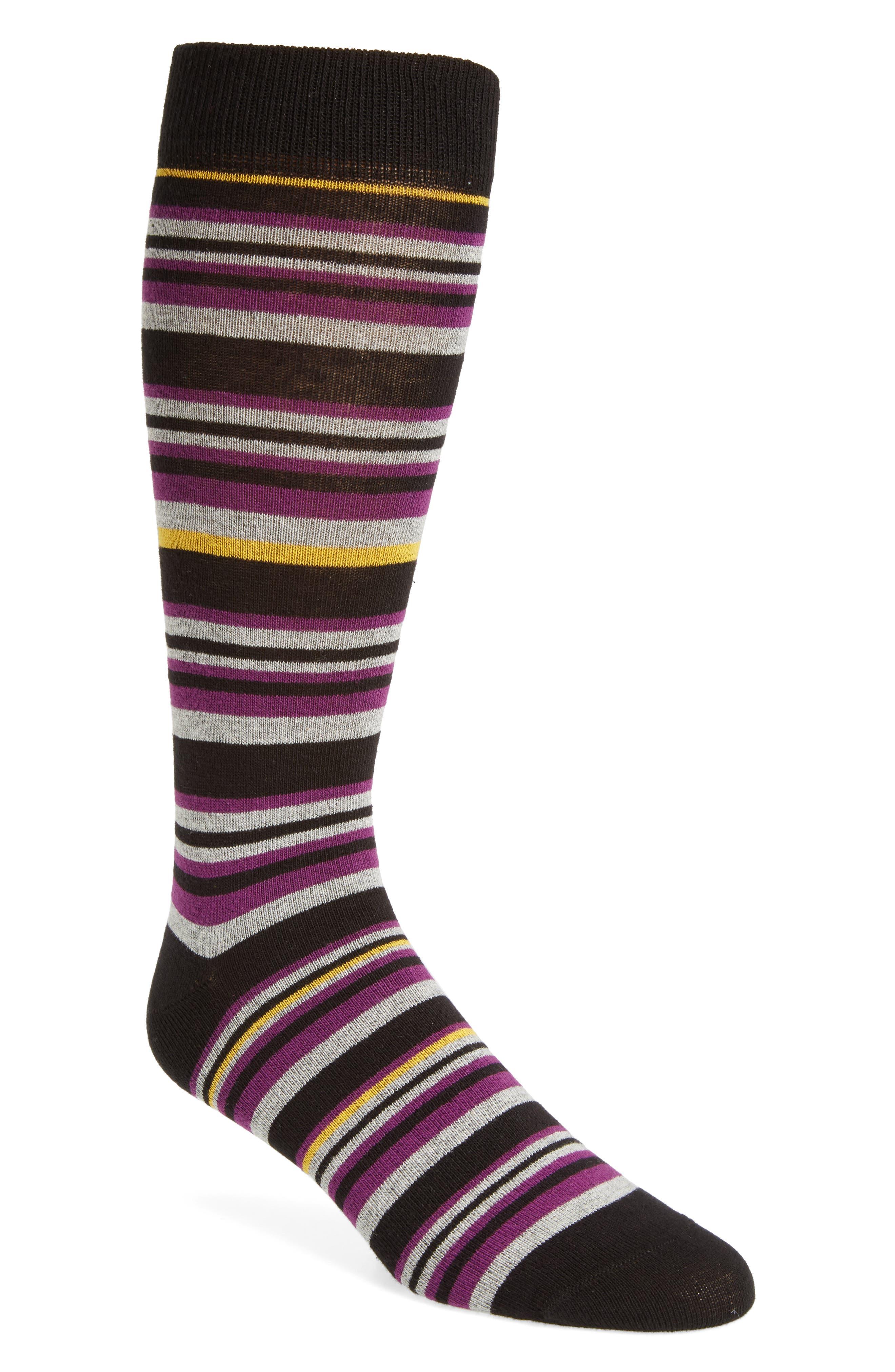 Thin Stripe Crew Socks,                         Main,                         color, Purple