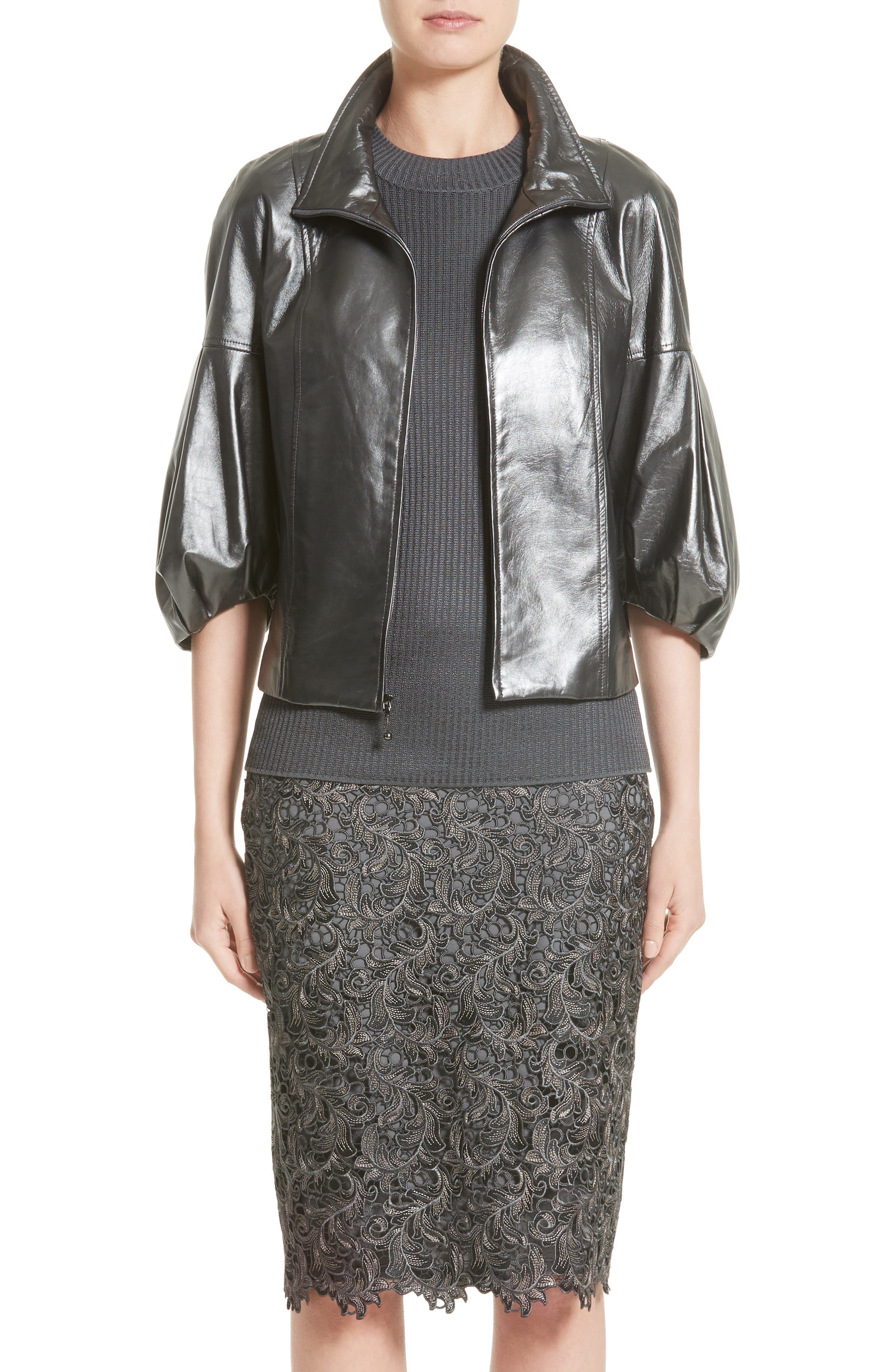Pearlized Nappa Leather Jacket,                         Main,                         color, Steel Grey