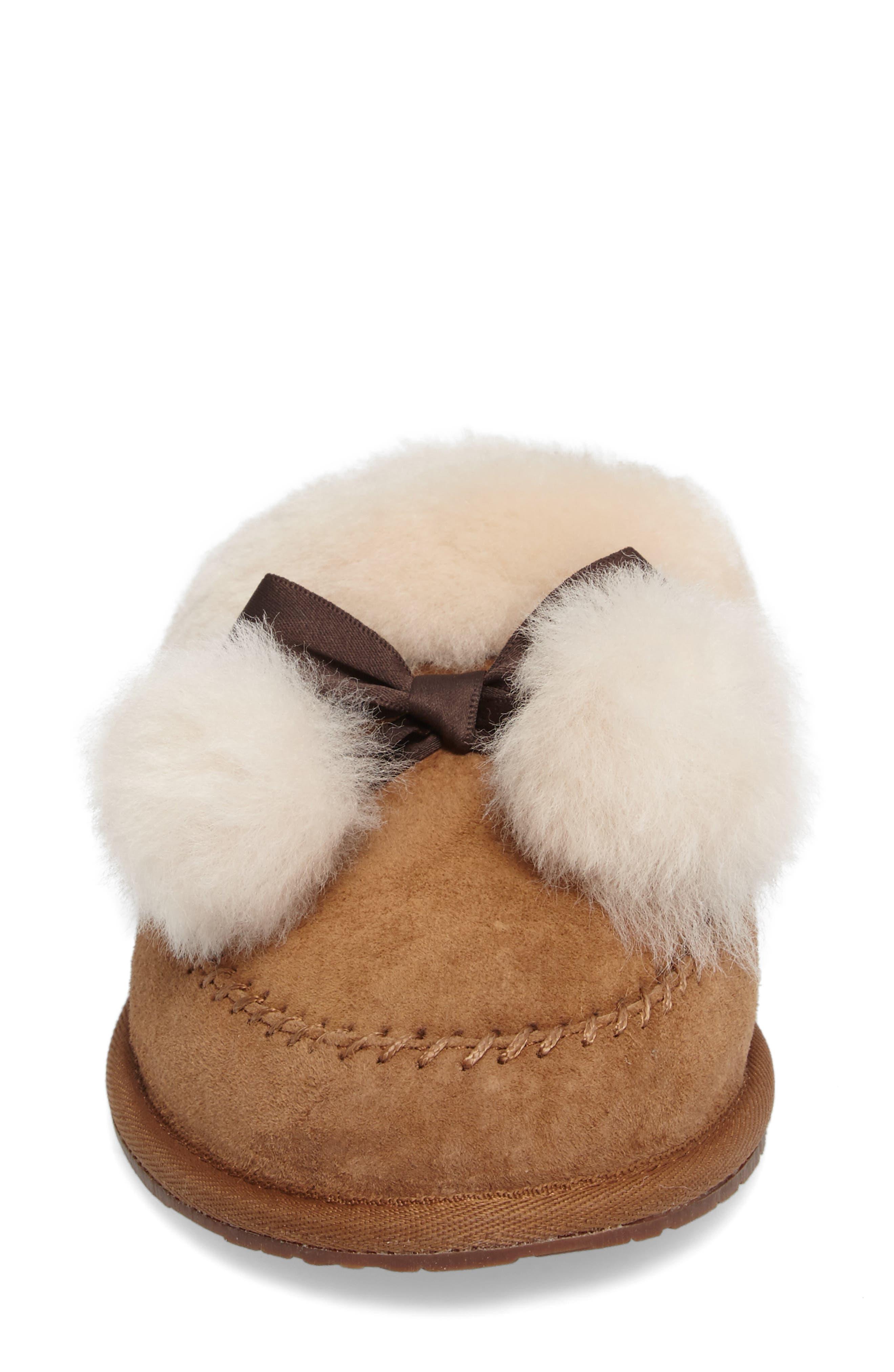 Hafnier Genuine Shearling Slipper,                             Alternate thumbnail 4, color,                             Chestnut Suede