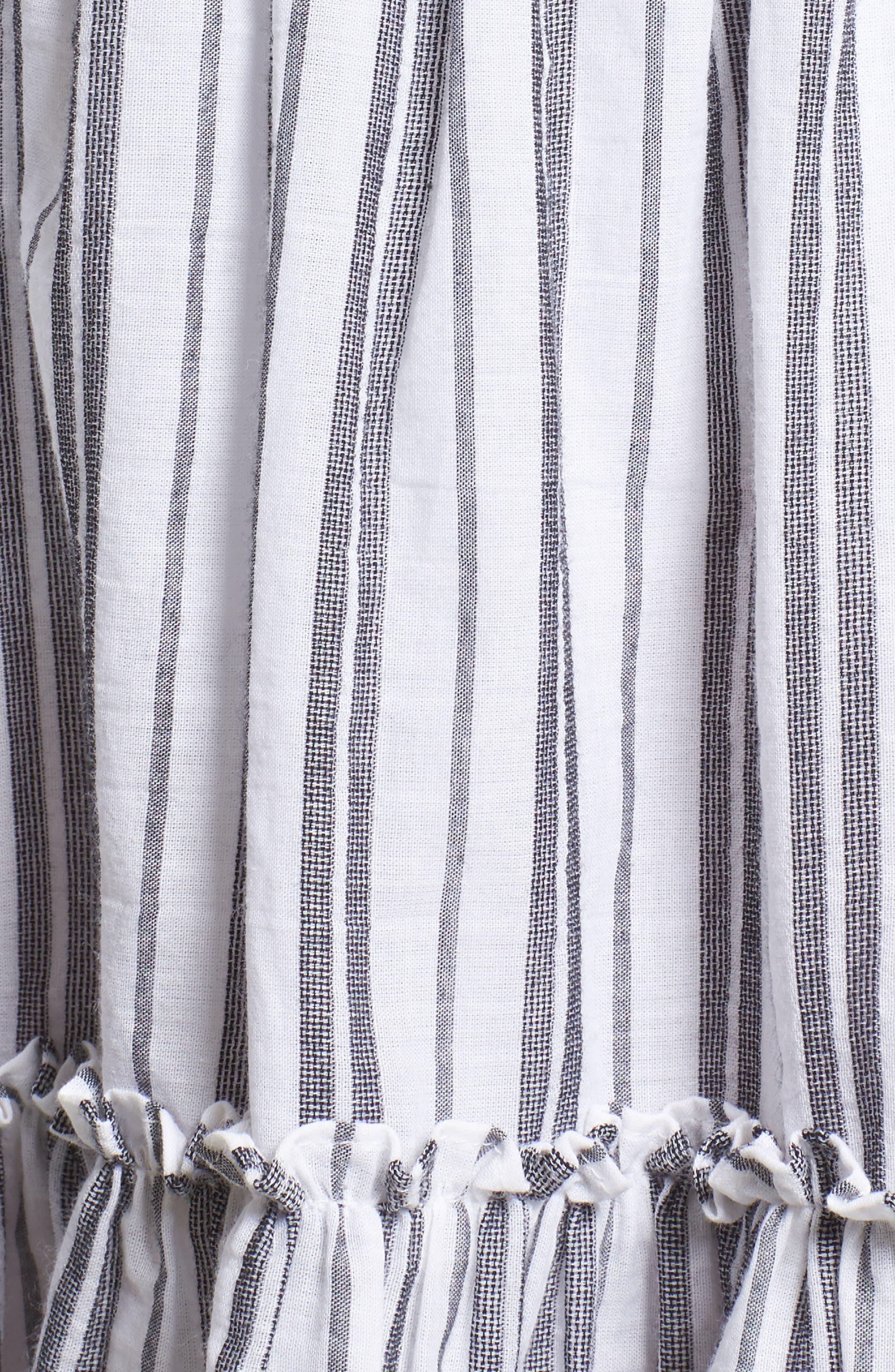 stripe miniskirt,                             Alternate thumbnail 5, color,                             Fresh White/ Black