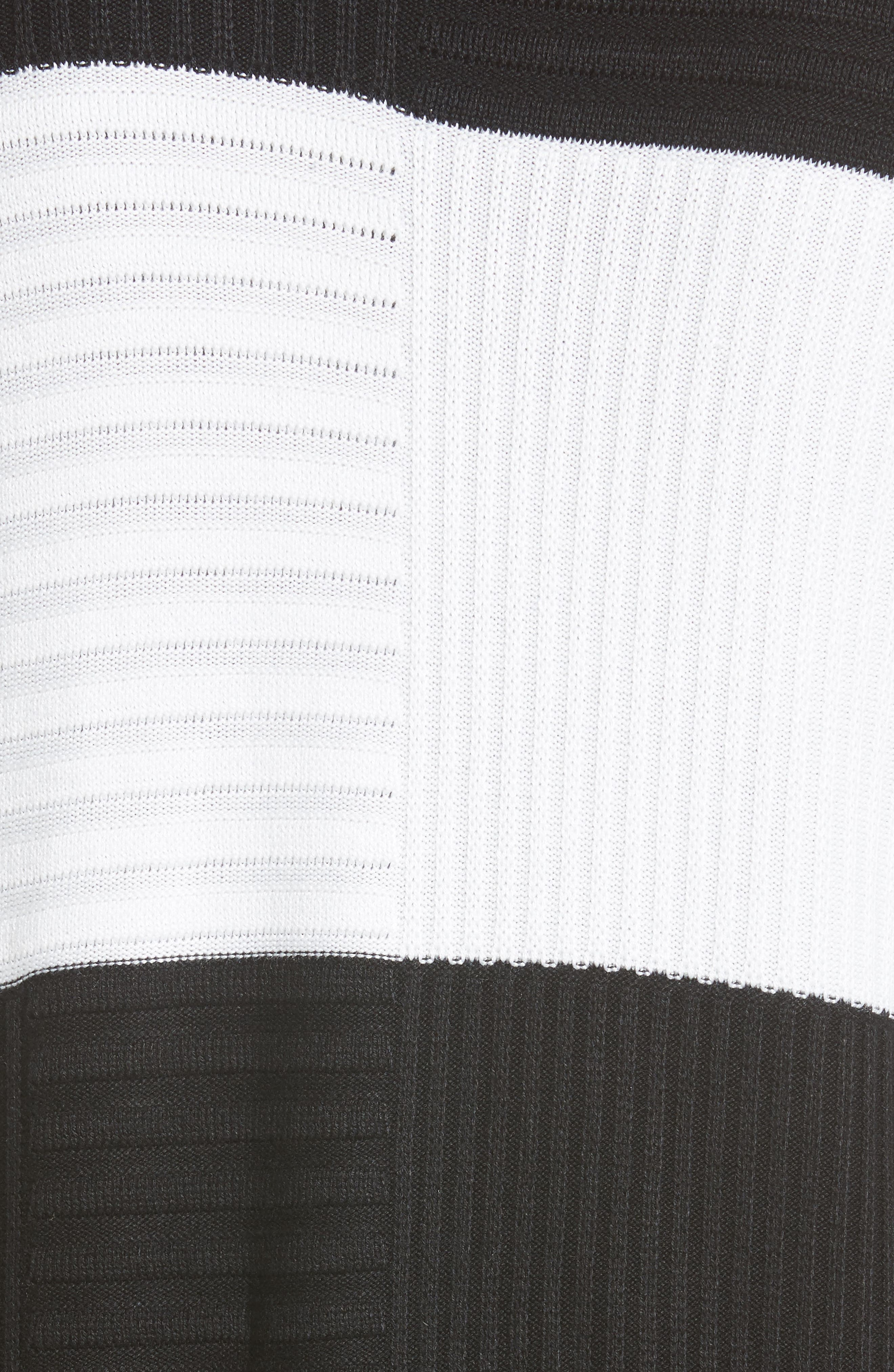 Intarsia Colorblock Cardigan,                             Alternate thumbnail 6, color,                             Caviar/ Bianco