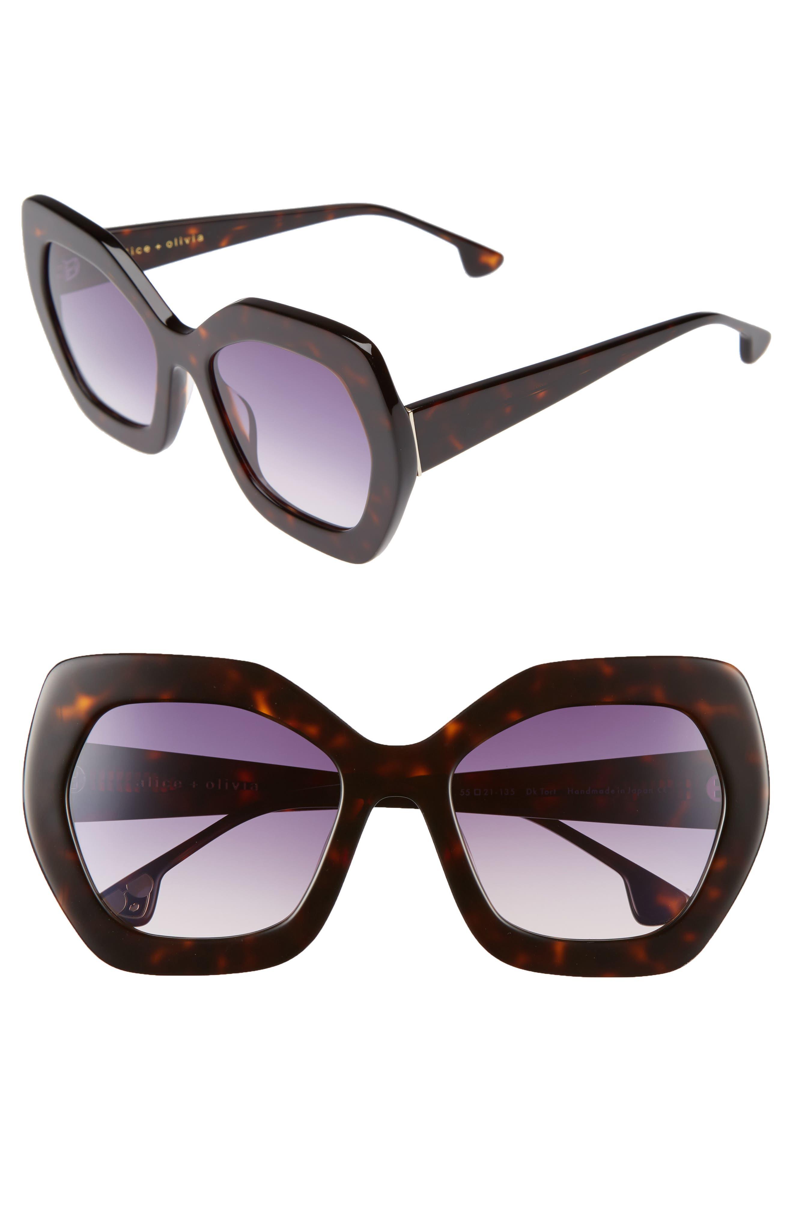 Dinah 55mm Butterfly Sunglasses,                             Main thumbnail 1, color,                             Dark Tortoise
