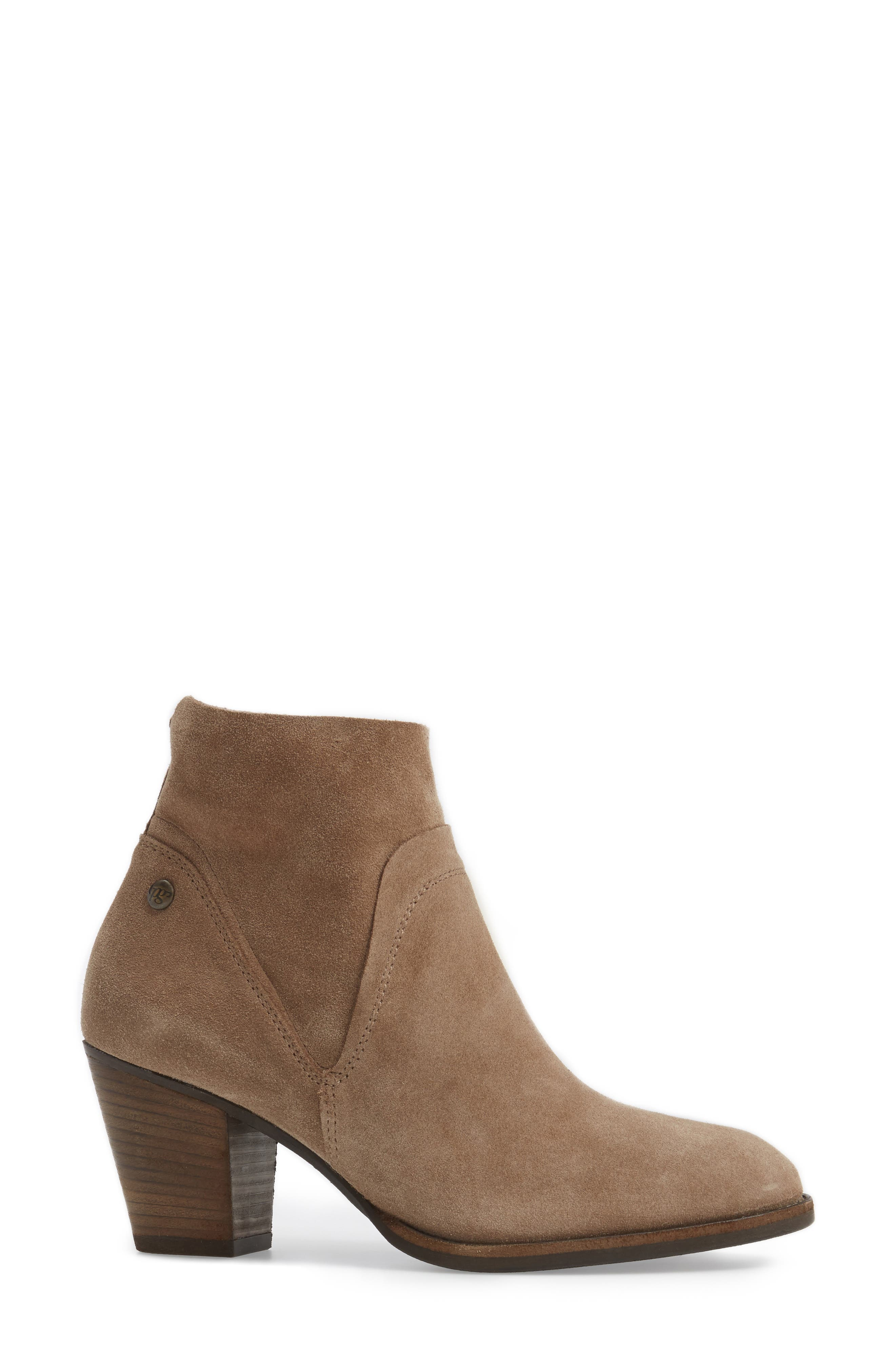 Nora Water Resistant Bootie,                             Alternate thumbnail 3, color,                             Antelope Hydro Suede