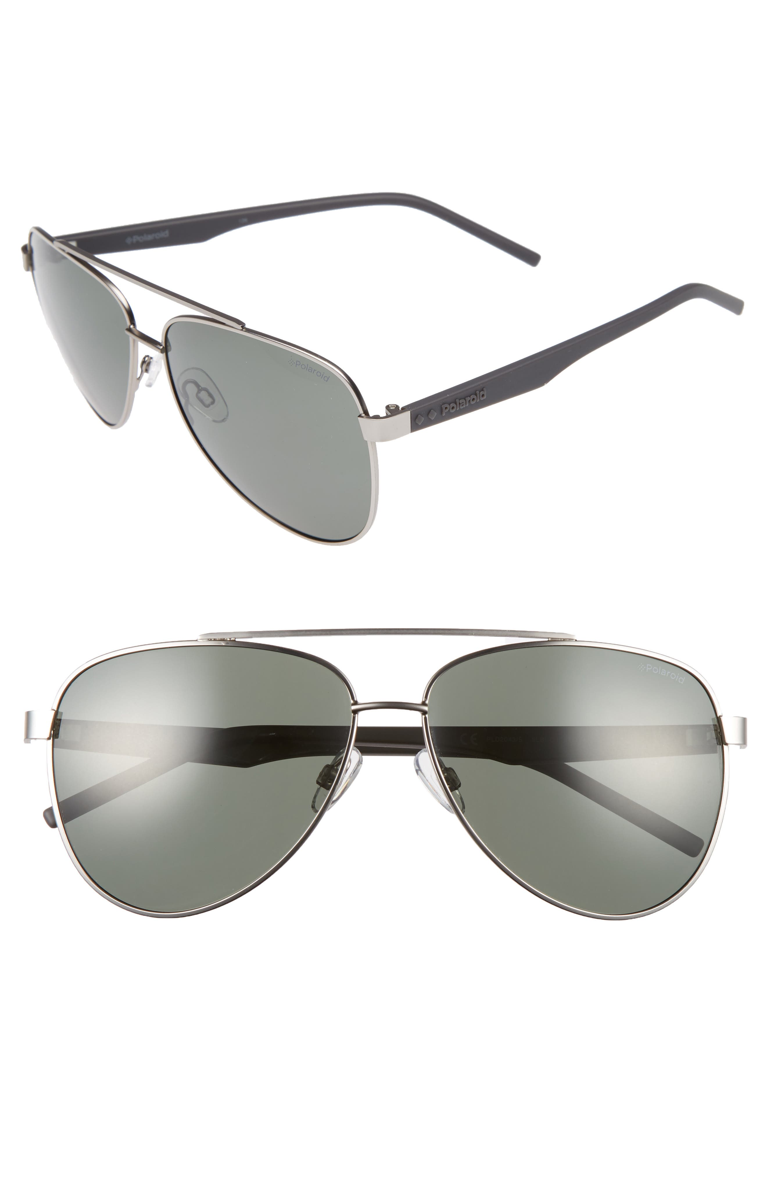 Main Image - Polaroid 61mm Polarized Aviator Sunglasses