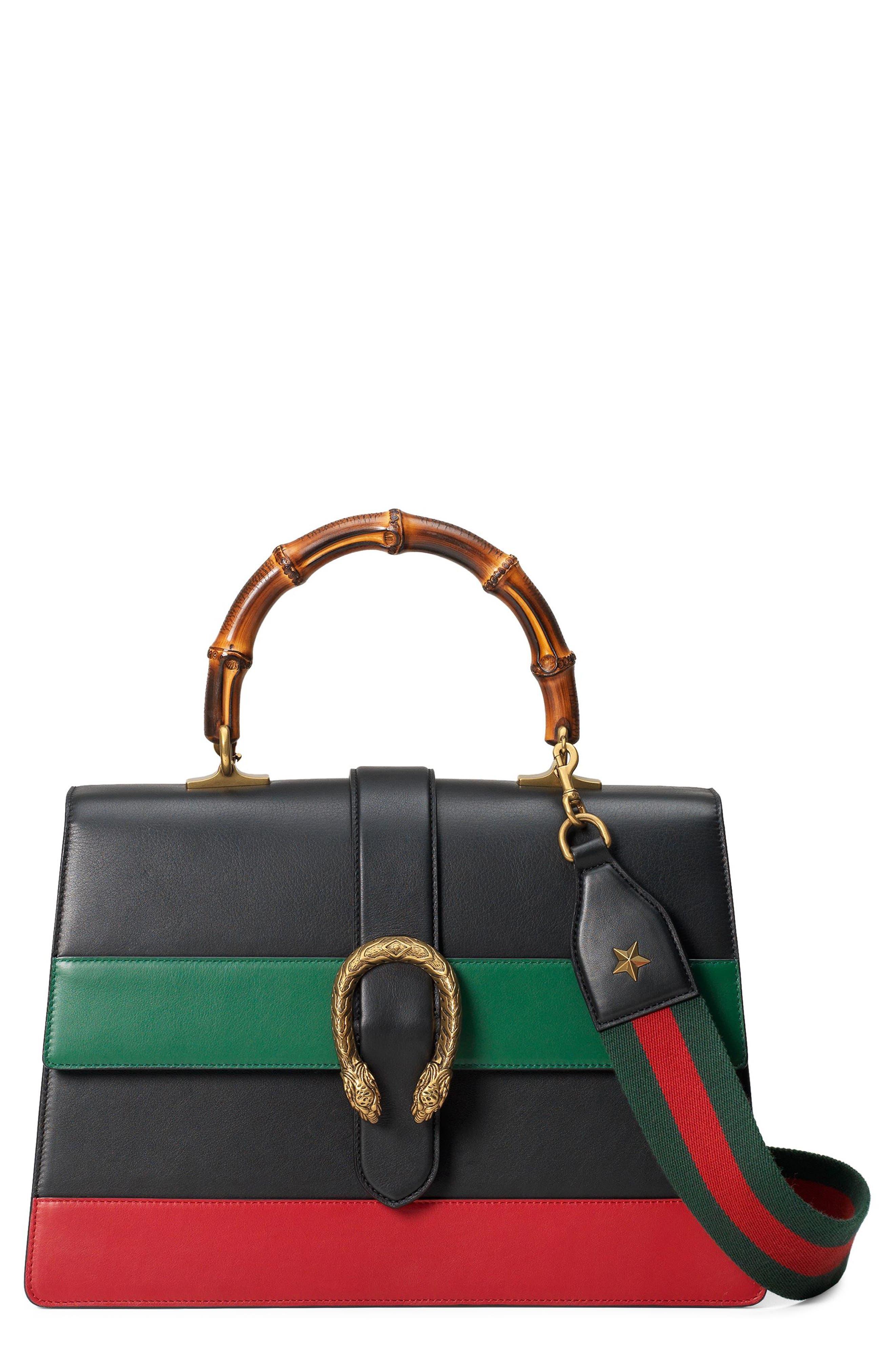 GUCCI LARGE DIONYSUS TOP HANDLE LEATHER SHOULDER BAG - BLACK