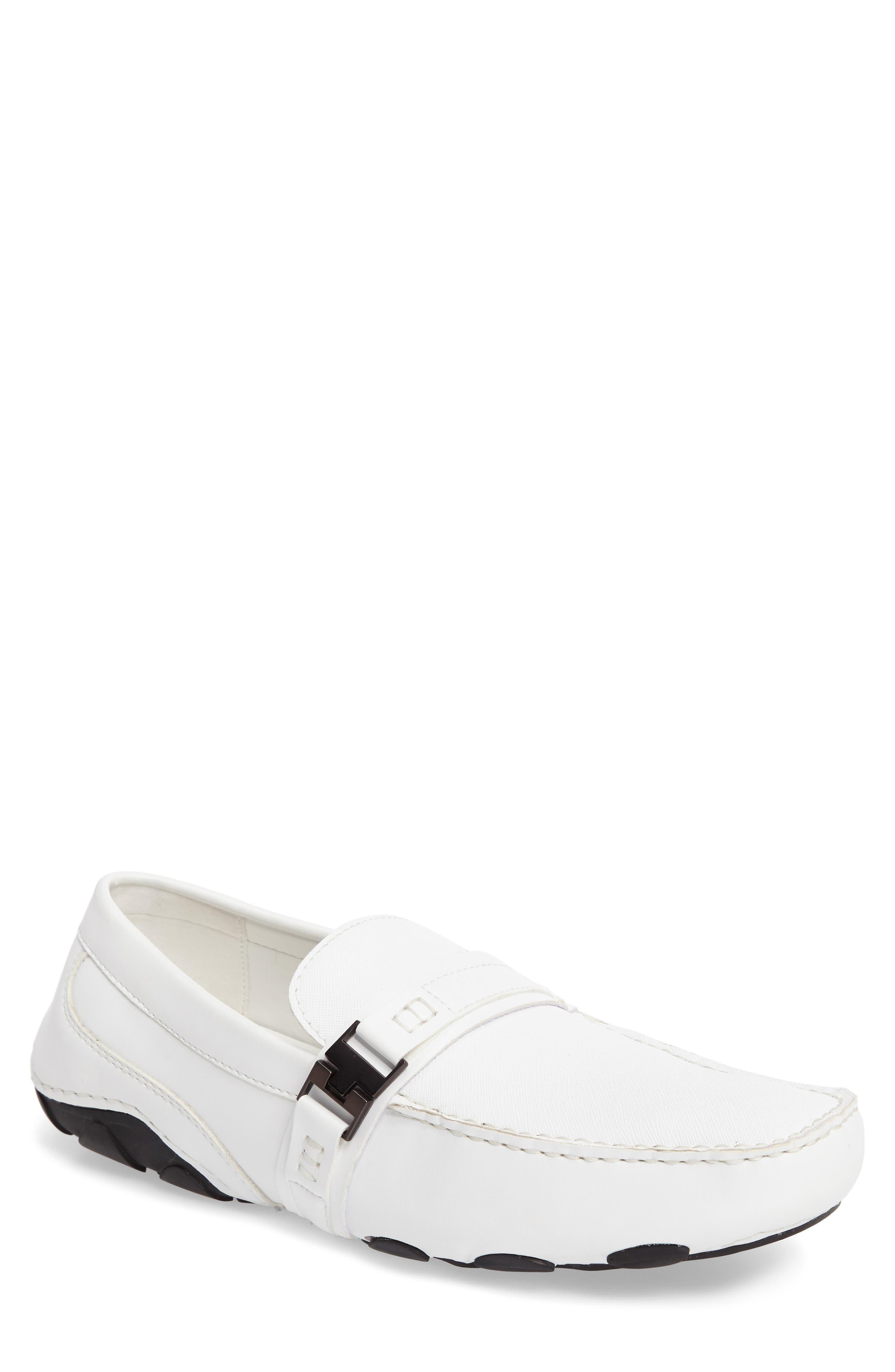 'Toast 2 Me' Driving Shoe,                             Main thumbnail 1, color,                             White Leather