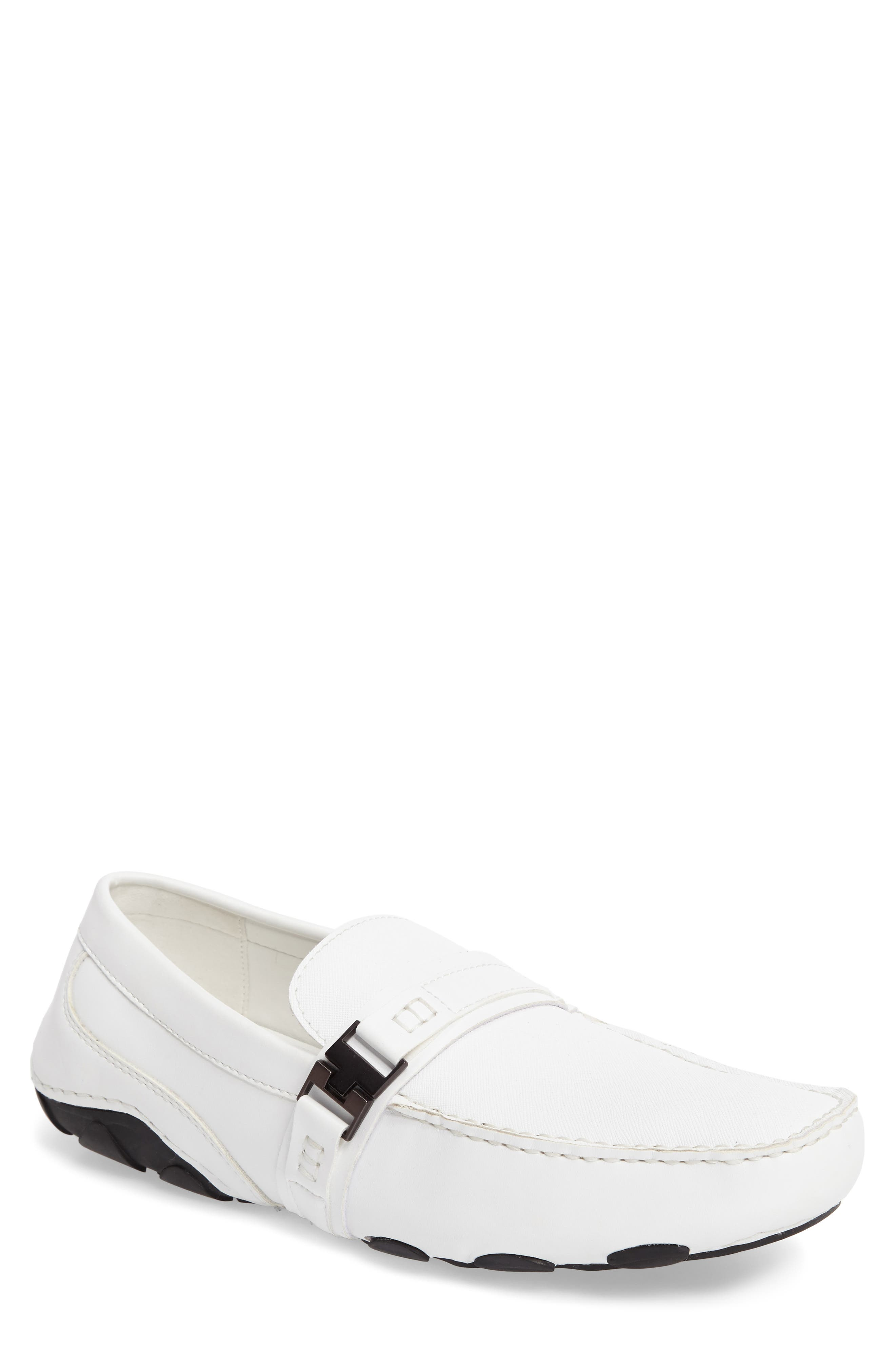 'Toast 2 Me' Driving Shoe,                         Main,                         color, White Leather