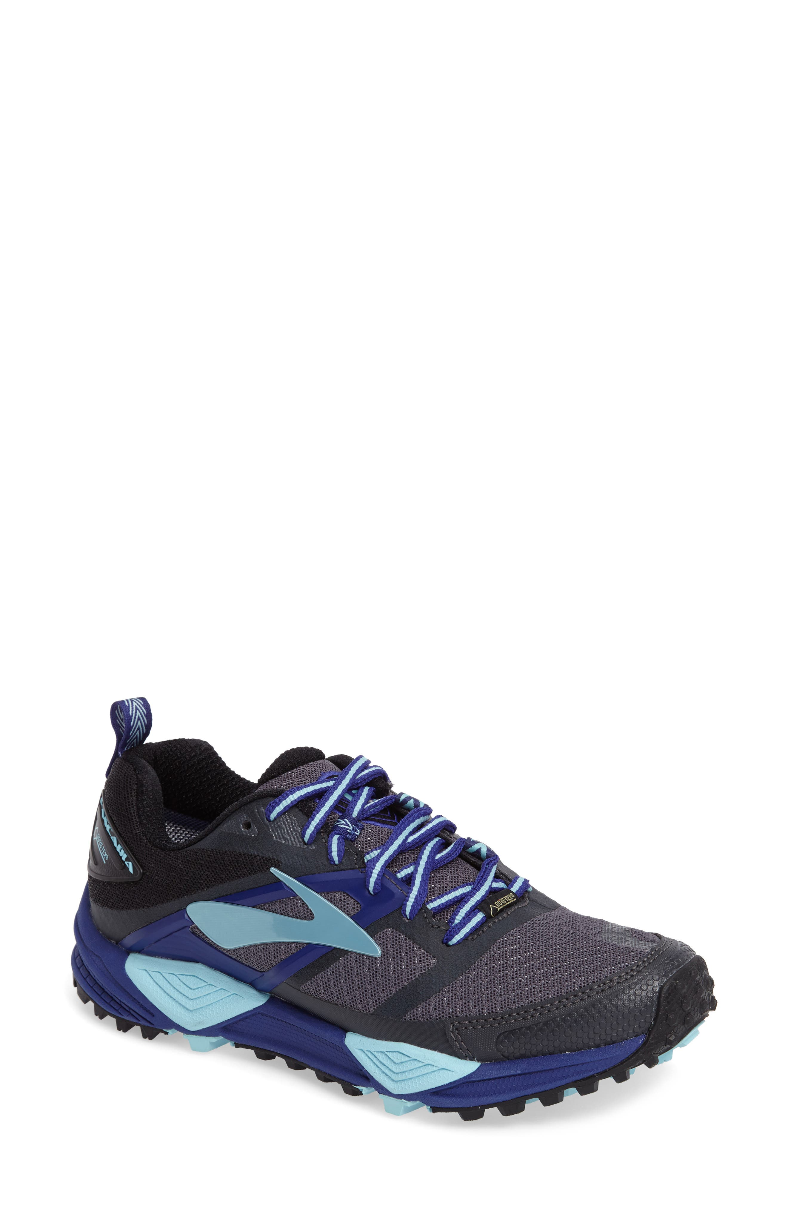 Cascadia 12 GTX Trail Running Shoe,                         Main,                         color, Black/ Ebony/ Clematis Blue