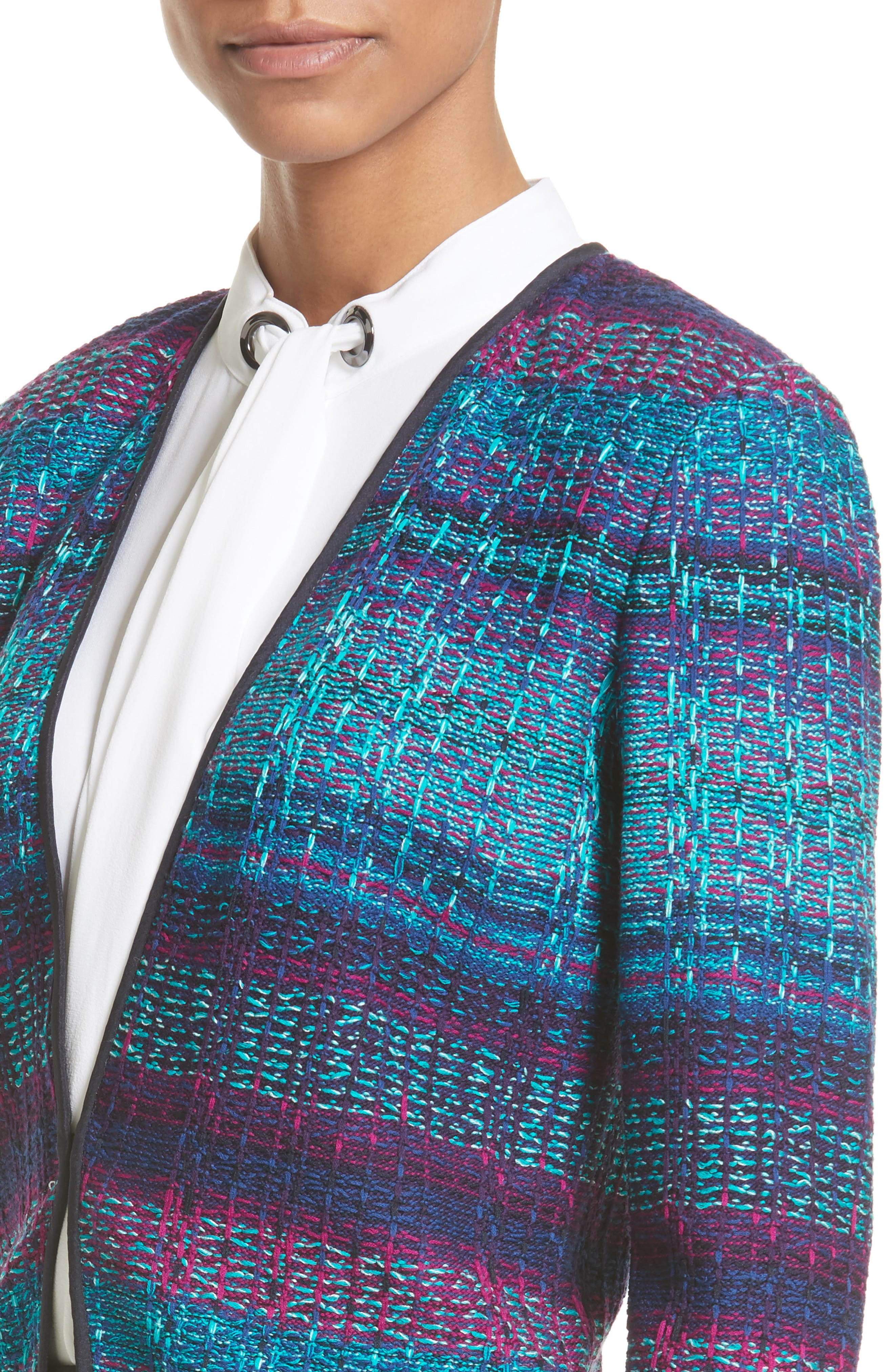 Ellah Knit Jacket,                             Alternate thumbnail 4, color,                             Navy Multi