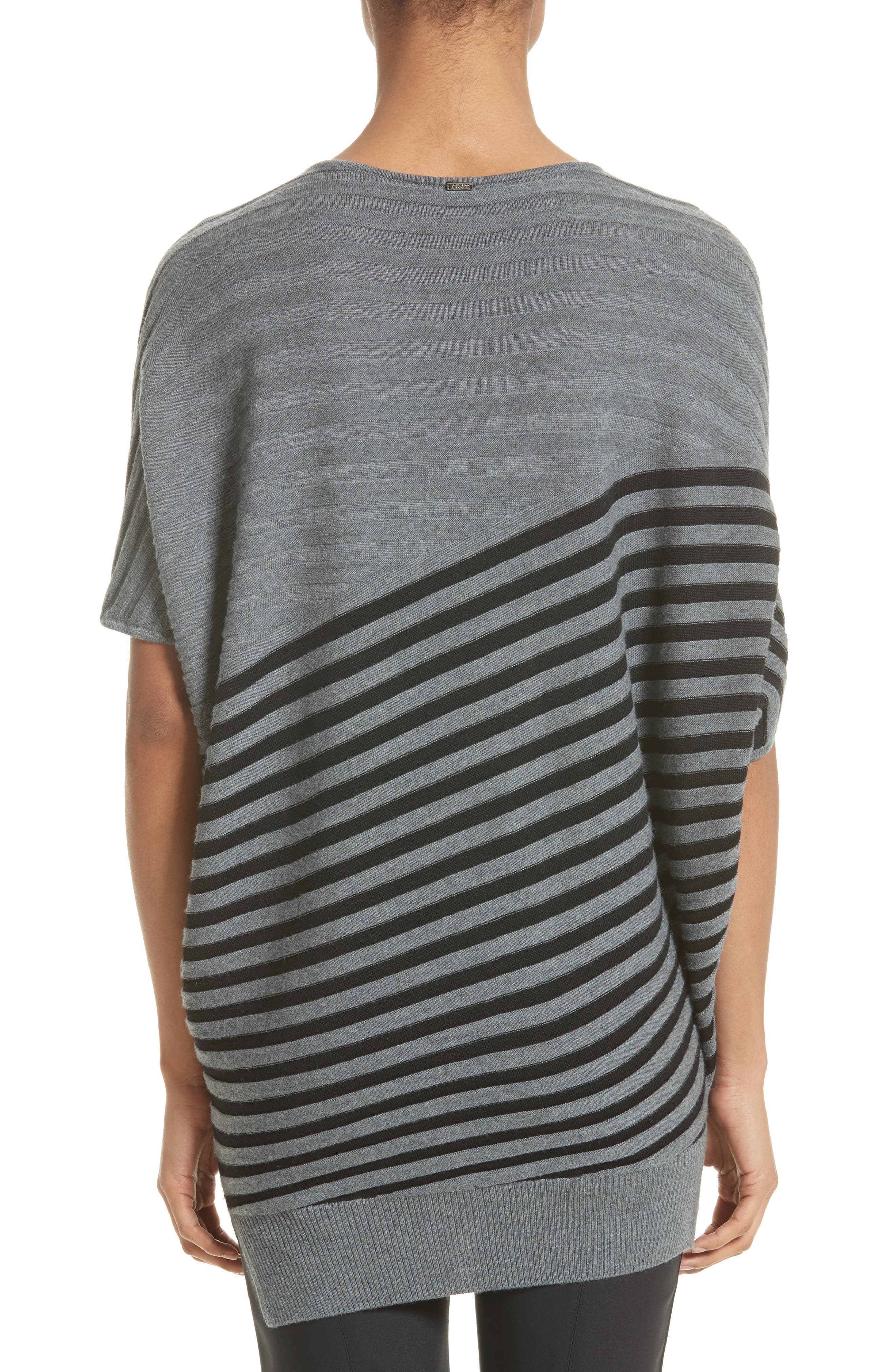 Alternate Image 2  - St. John Collection Stripe Wool Asymmetrical Sweater