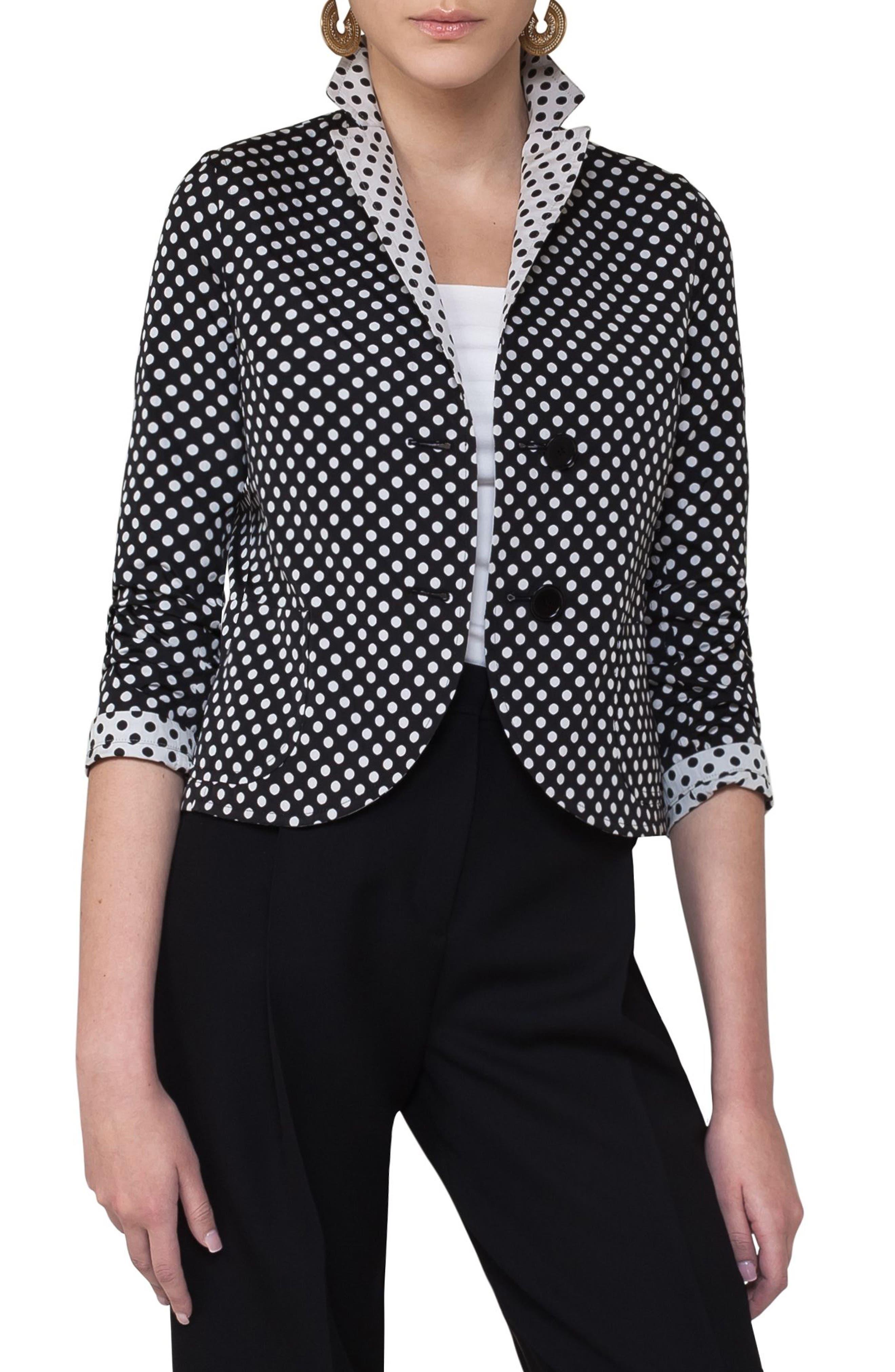Dot Print Reversible Blazer,                             Main thumbnail 1, color,                             Black/ Cream