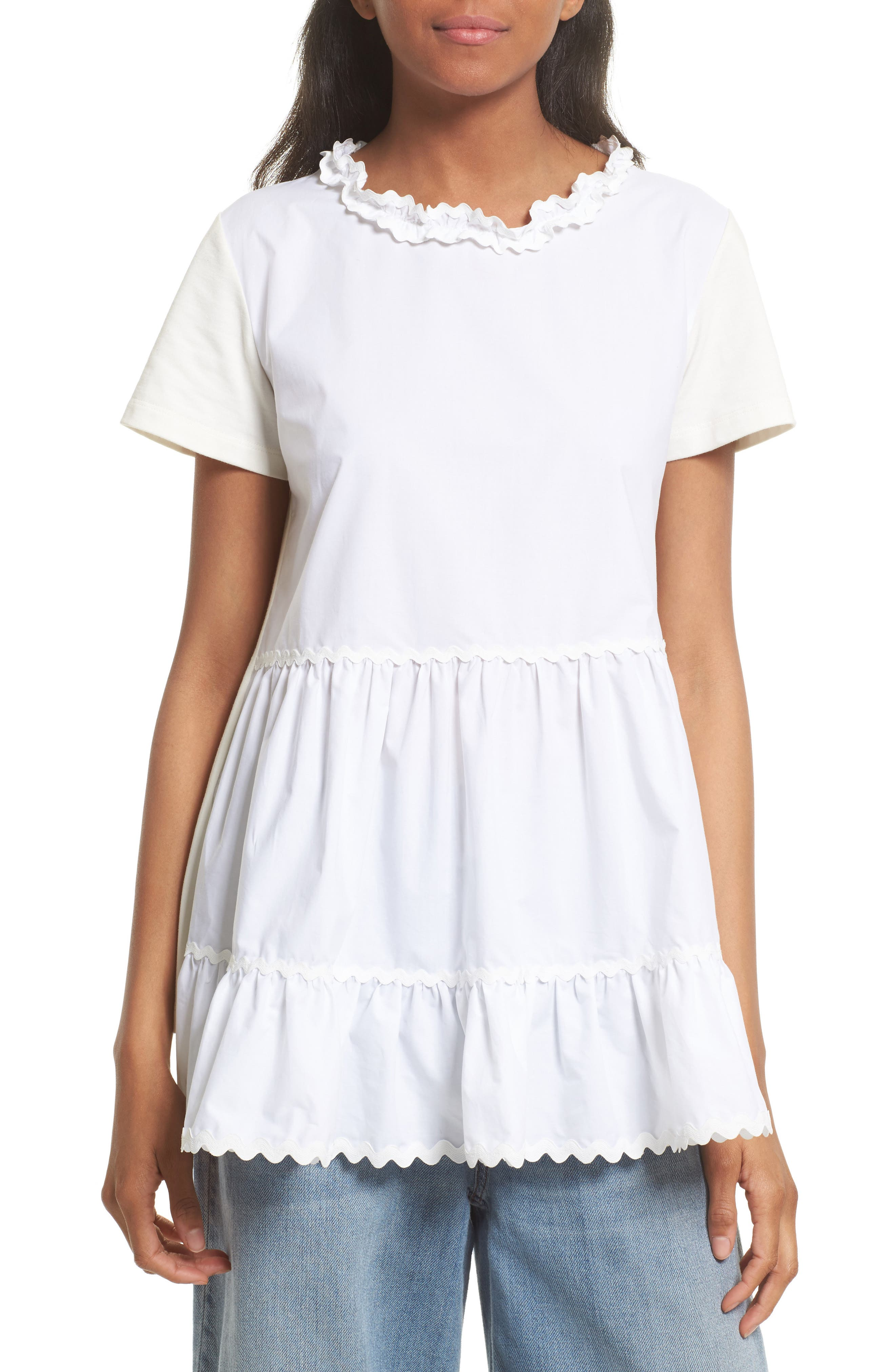 Tiered Ruffle Knit Top,                         Main,                         color, White/ Off White