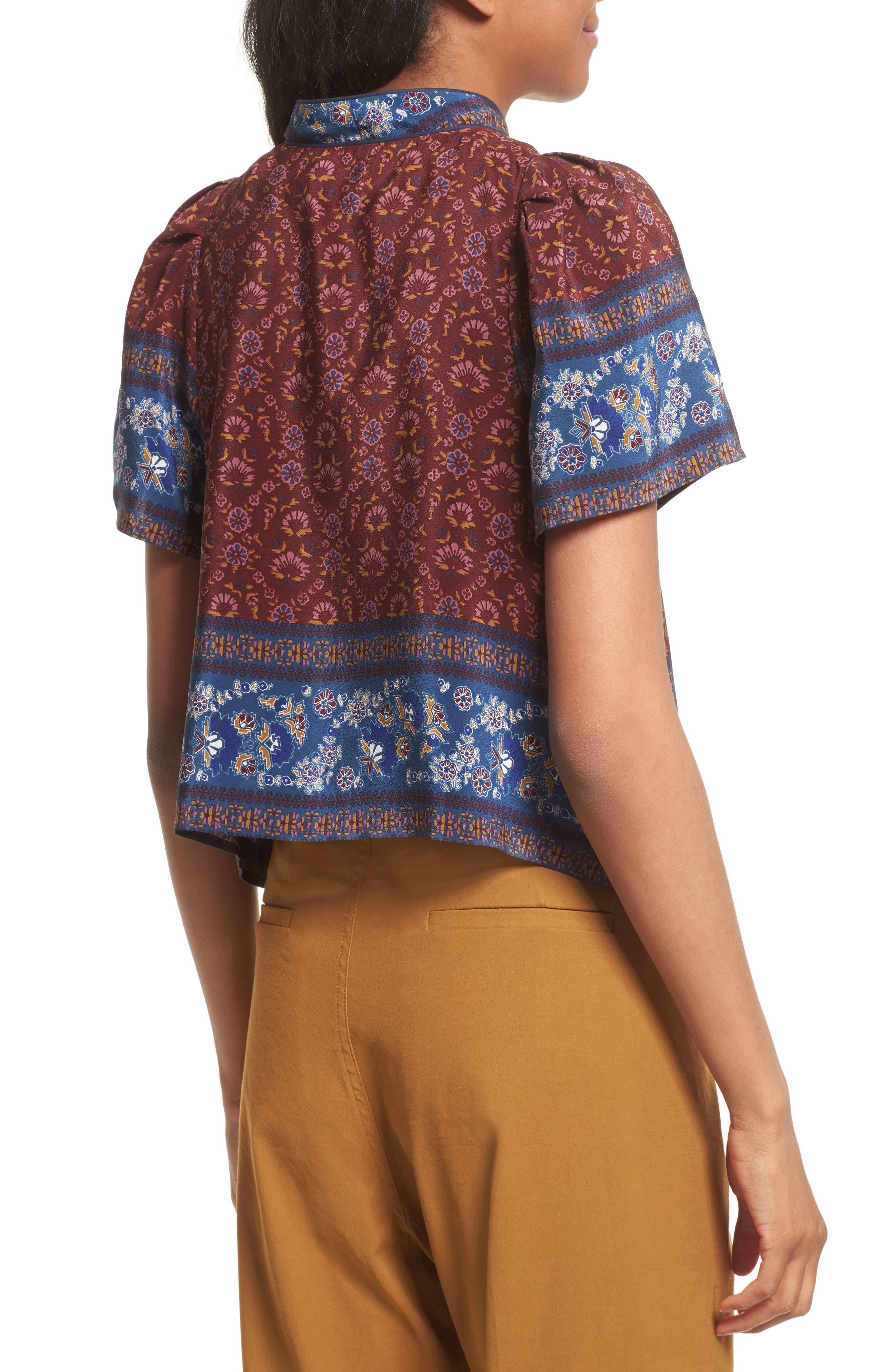 Alternate Image 2  - Sea Mandarin Collar Silk Top