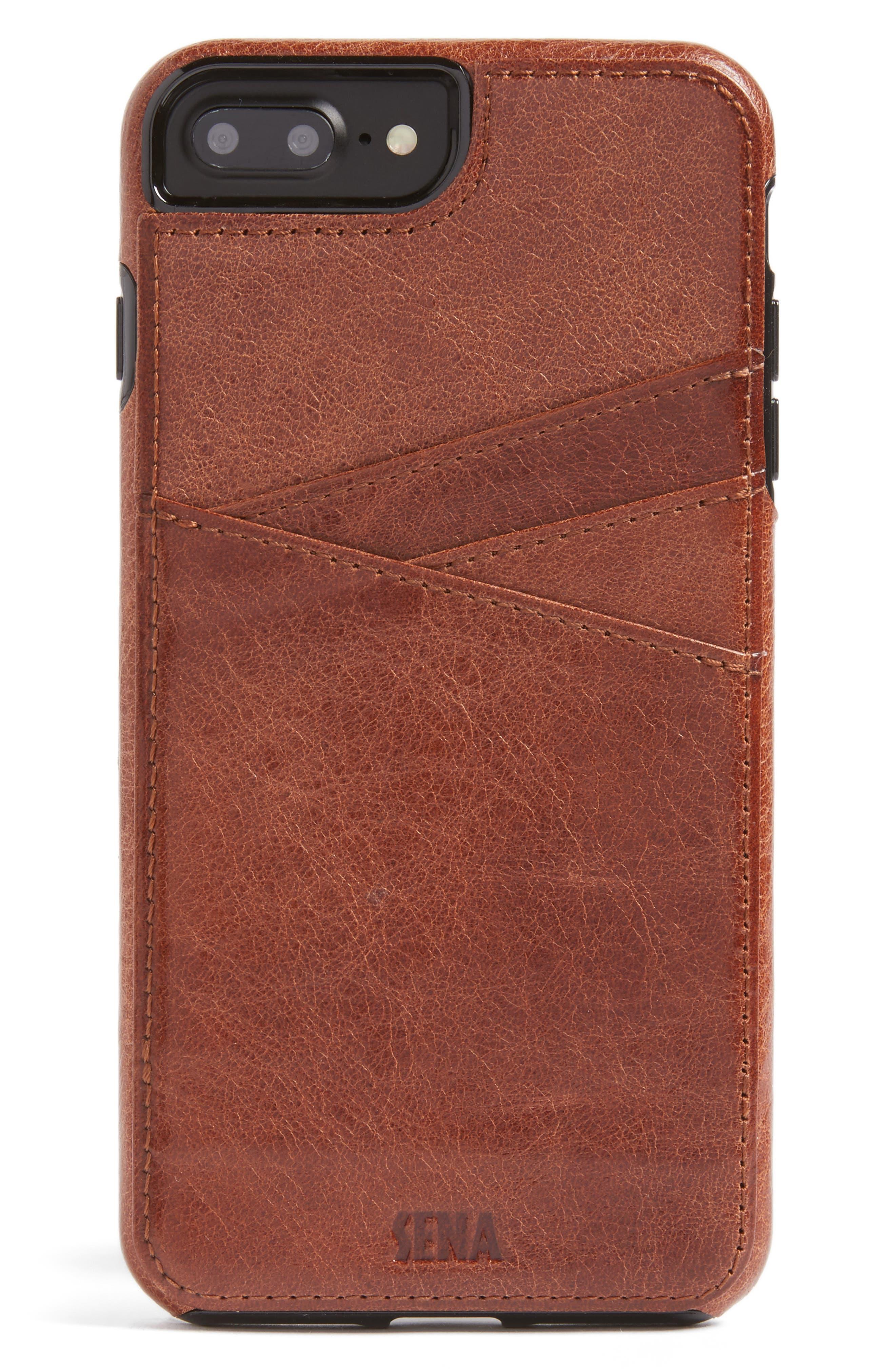 Lugano iPhone 7/8 Plus Wallet Case,                             Main thumbnail 1, color,                             Cognac