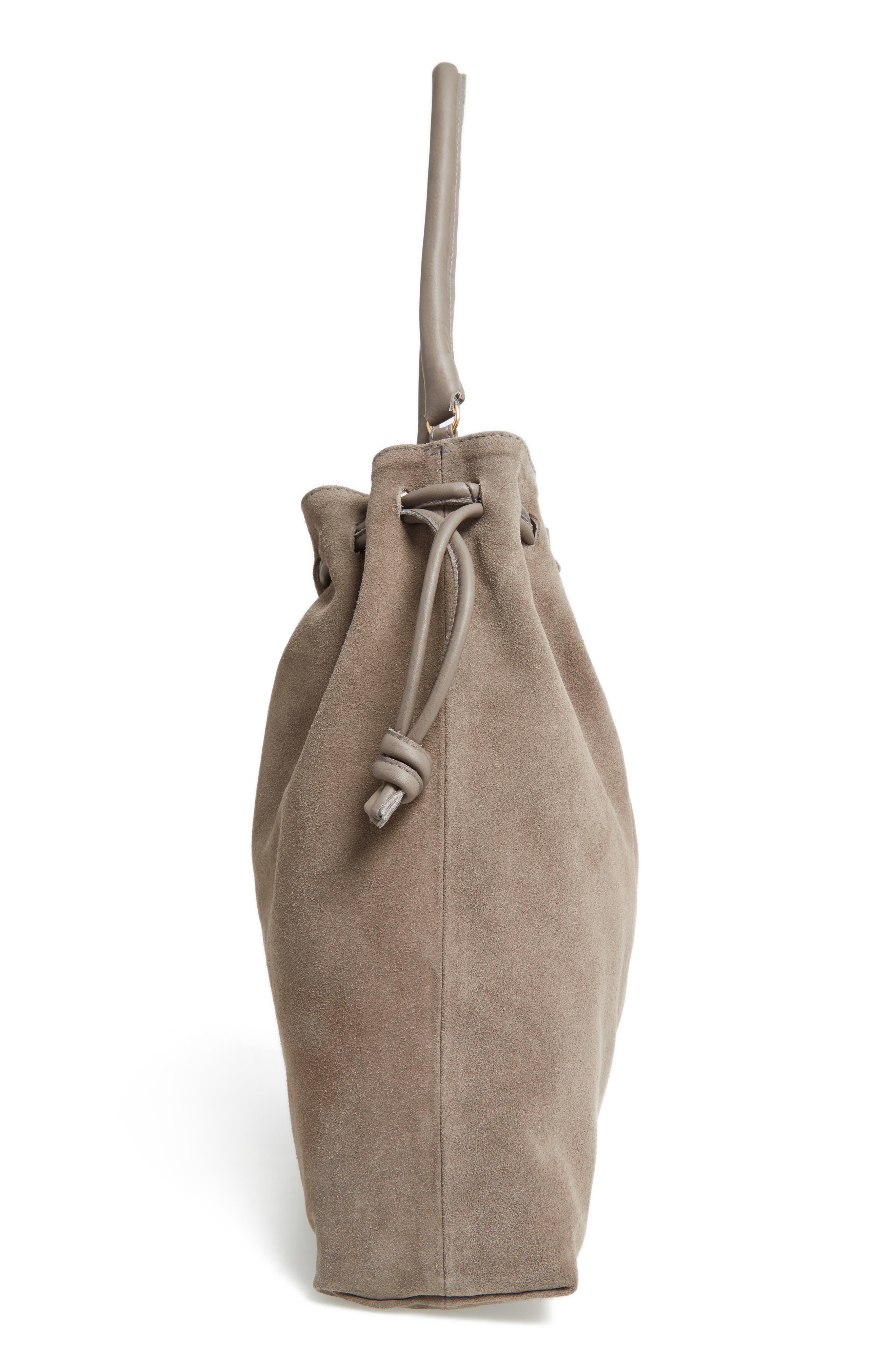 Henri Drawstring Shoulder Bag,                             Alternate thumbnail 3, color,                             Dark Grey