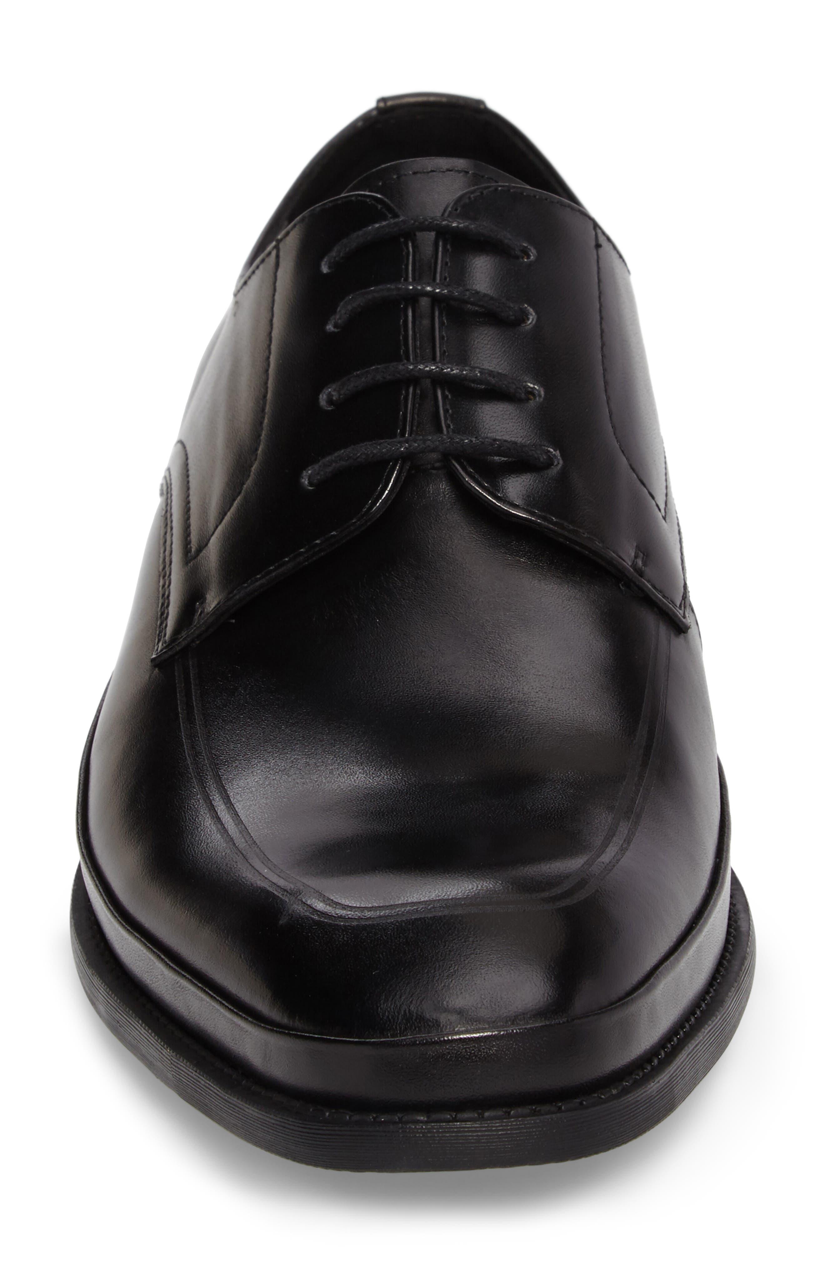 Brick Free Plain Toe Derby,                             Alternate thumbnail 4, color,                             Black Leather