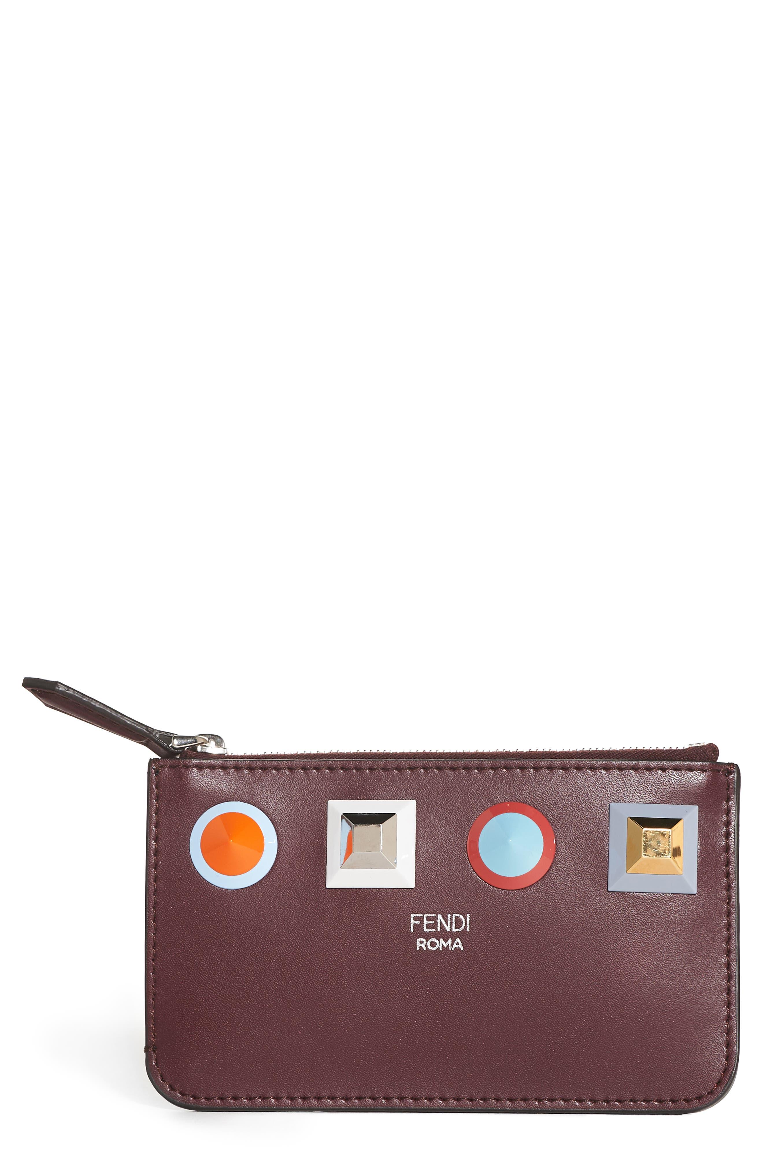 Fendi Large Studded Leather Key Pouch