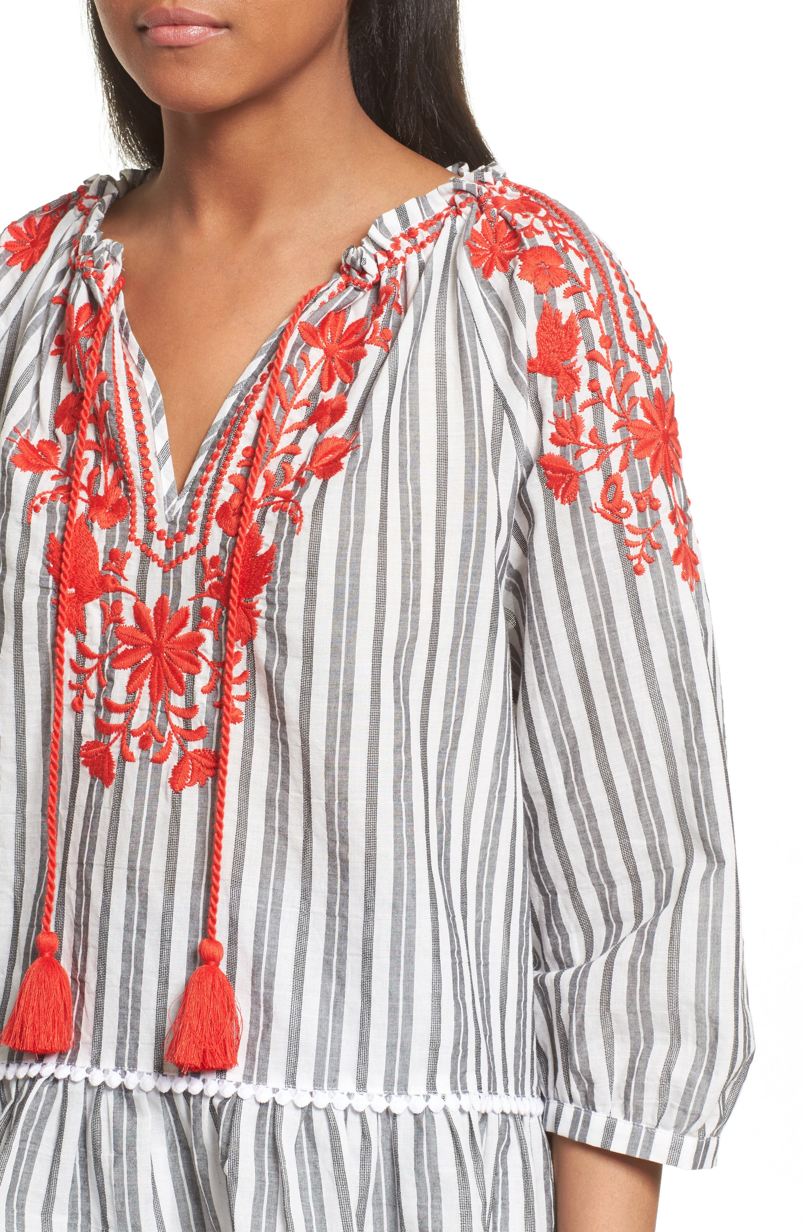 embroidered peasant top,                             Alternate thumbnail 5, color,                             Fresh White/ Black
