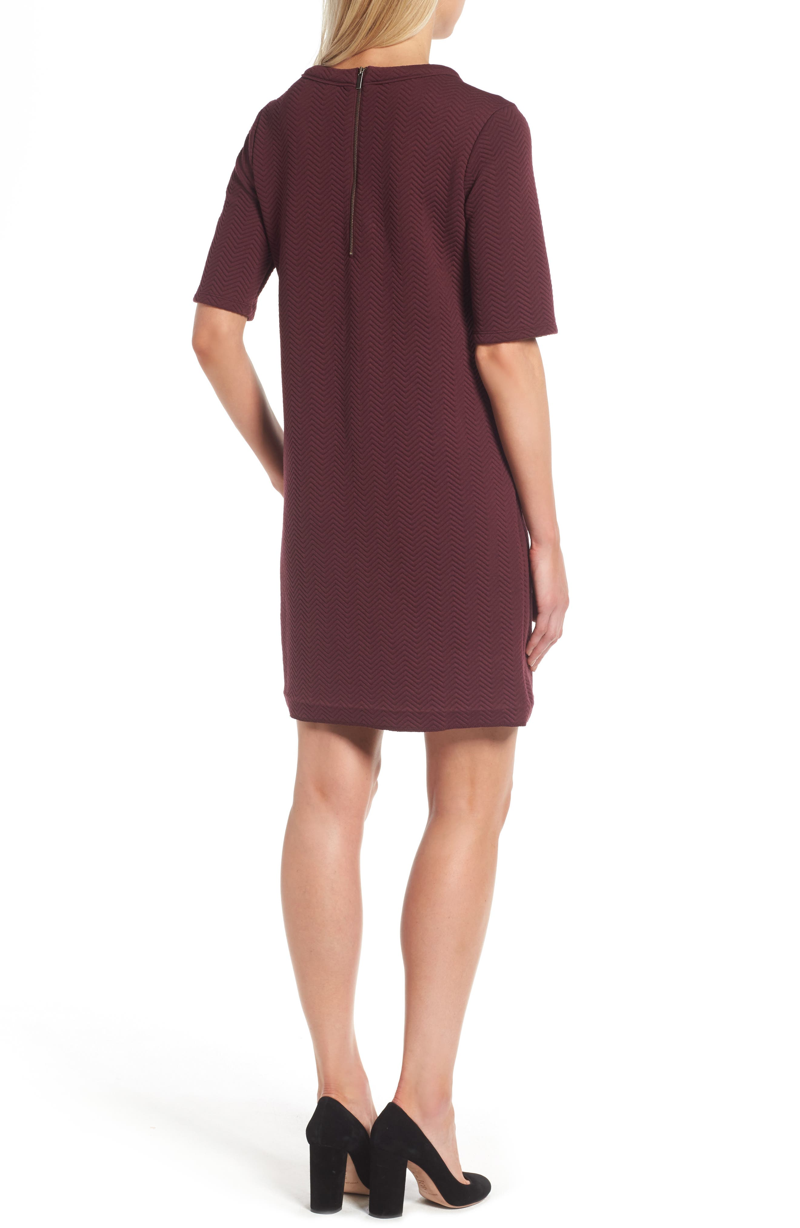 Alternate Image 2  - Halogen® Textured Elbow Sleeve Tunic Dress (Regular & Petite)