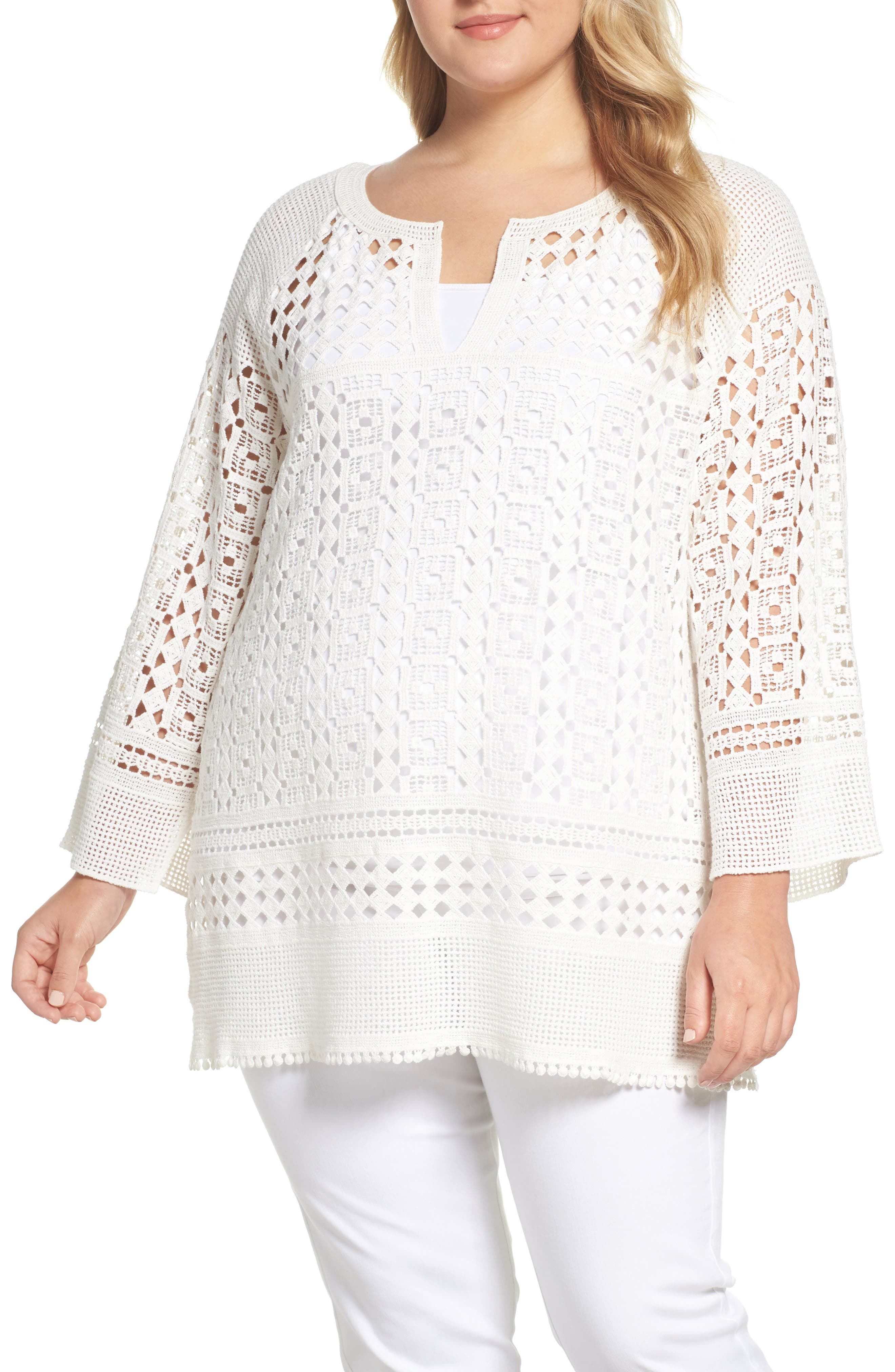 Free Spirit Lace Tunic,                         Main,                         color, Paper Whit