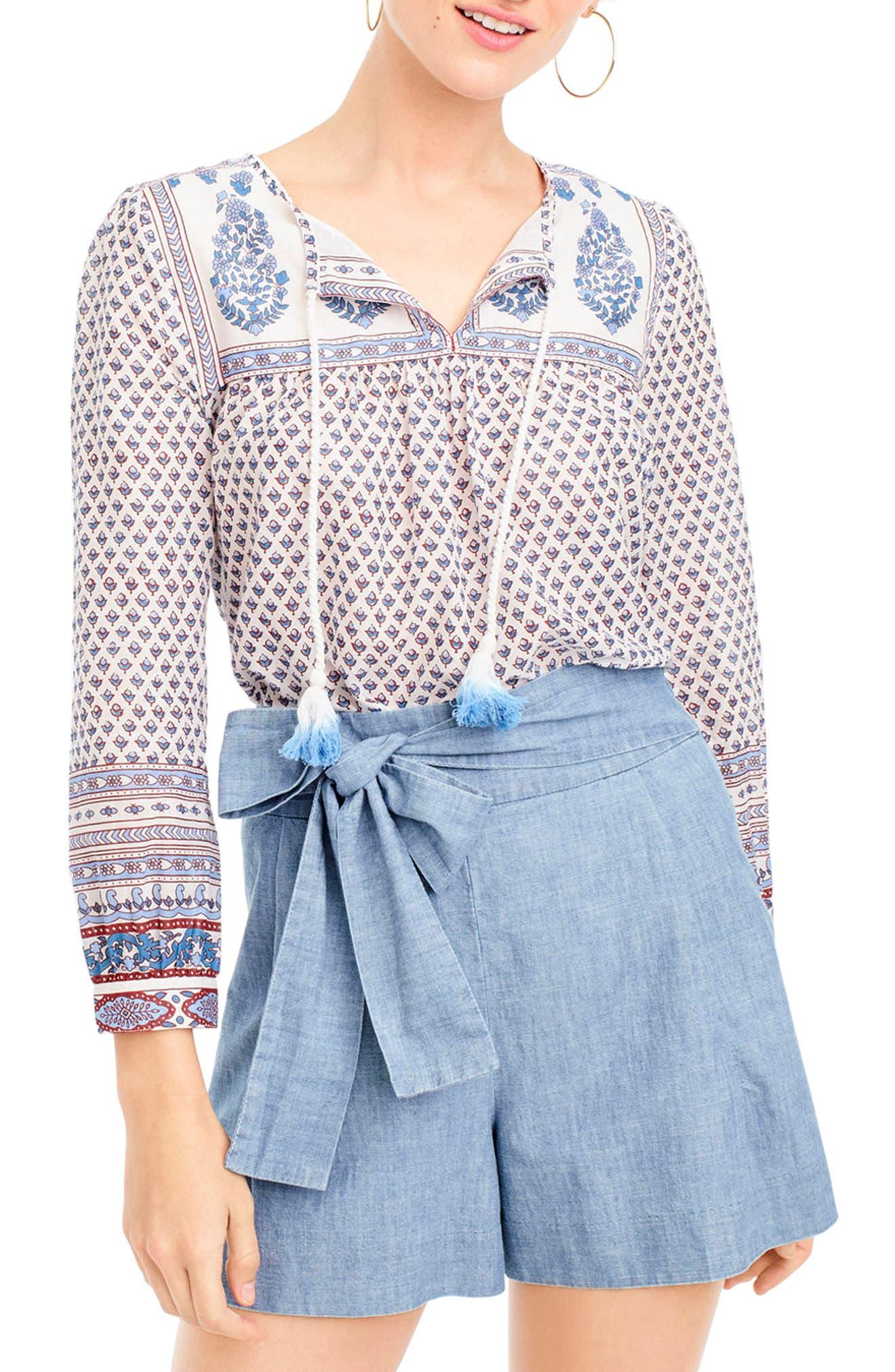Floral Paisley Cotton Peasant Top,                         Main,                         color, Bright Periwinkle