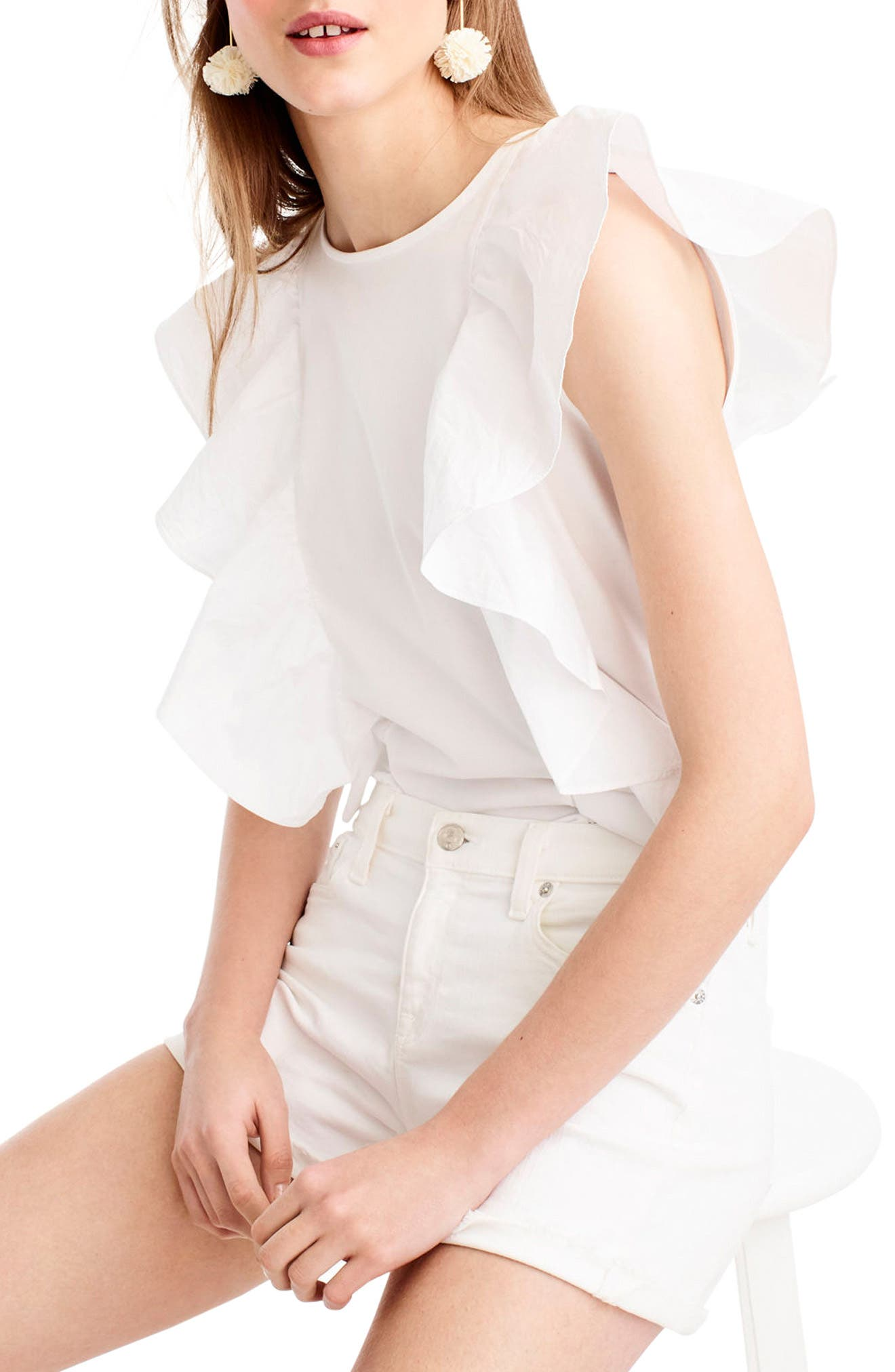 Ruffle Front Top,                         Main,                         color, White