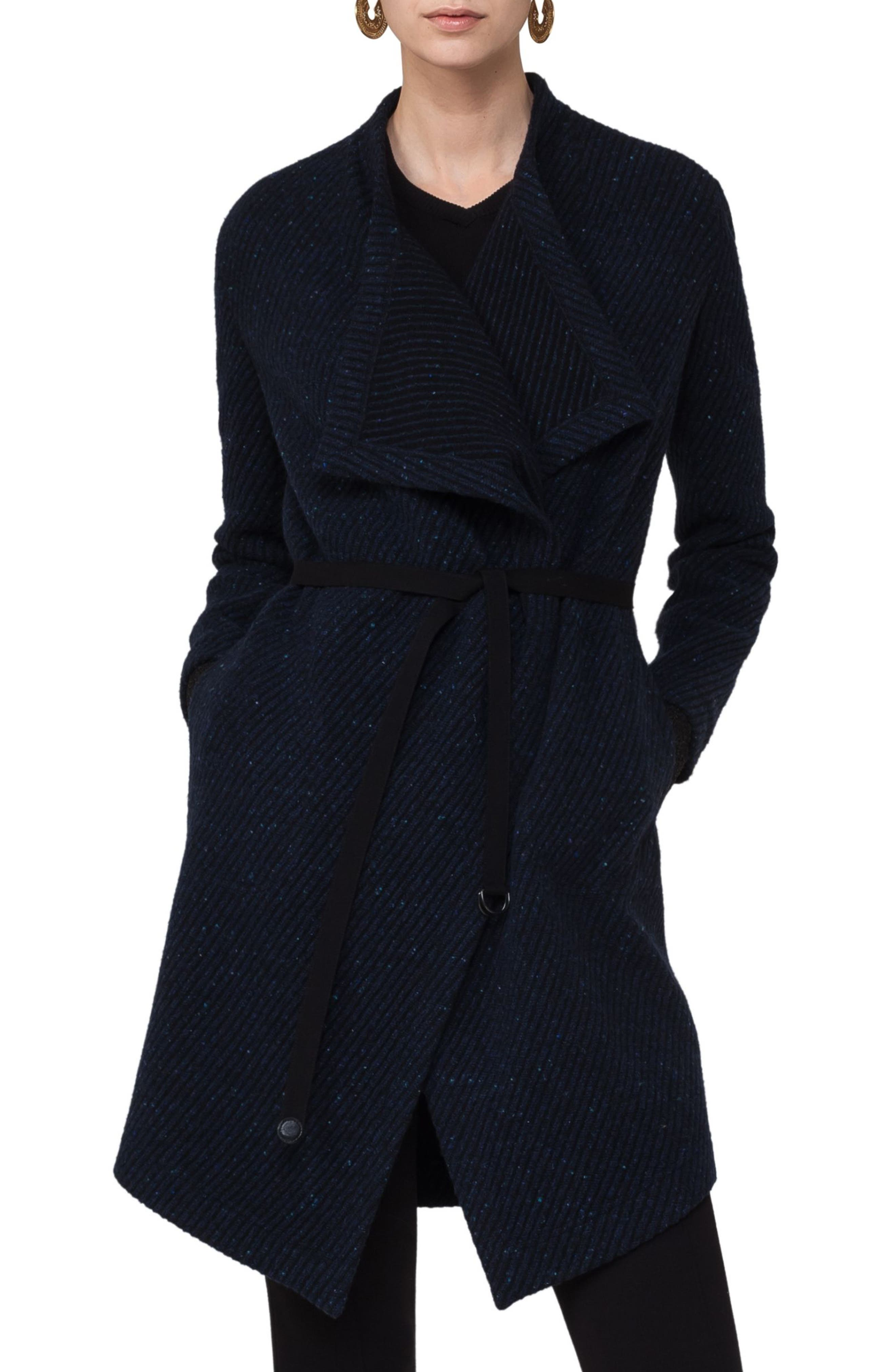 Wool Blend Gabardine Coat,                         Main,                         color, Blue Denim