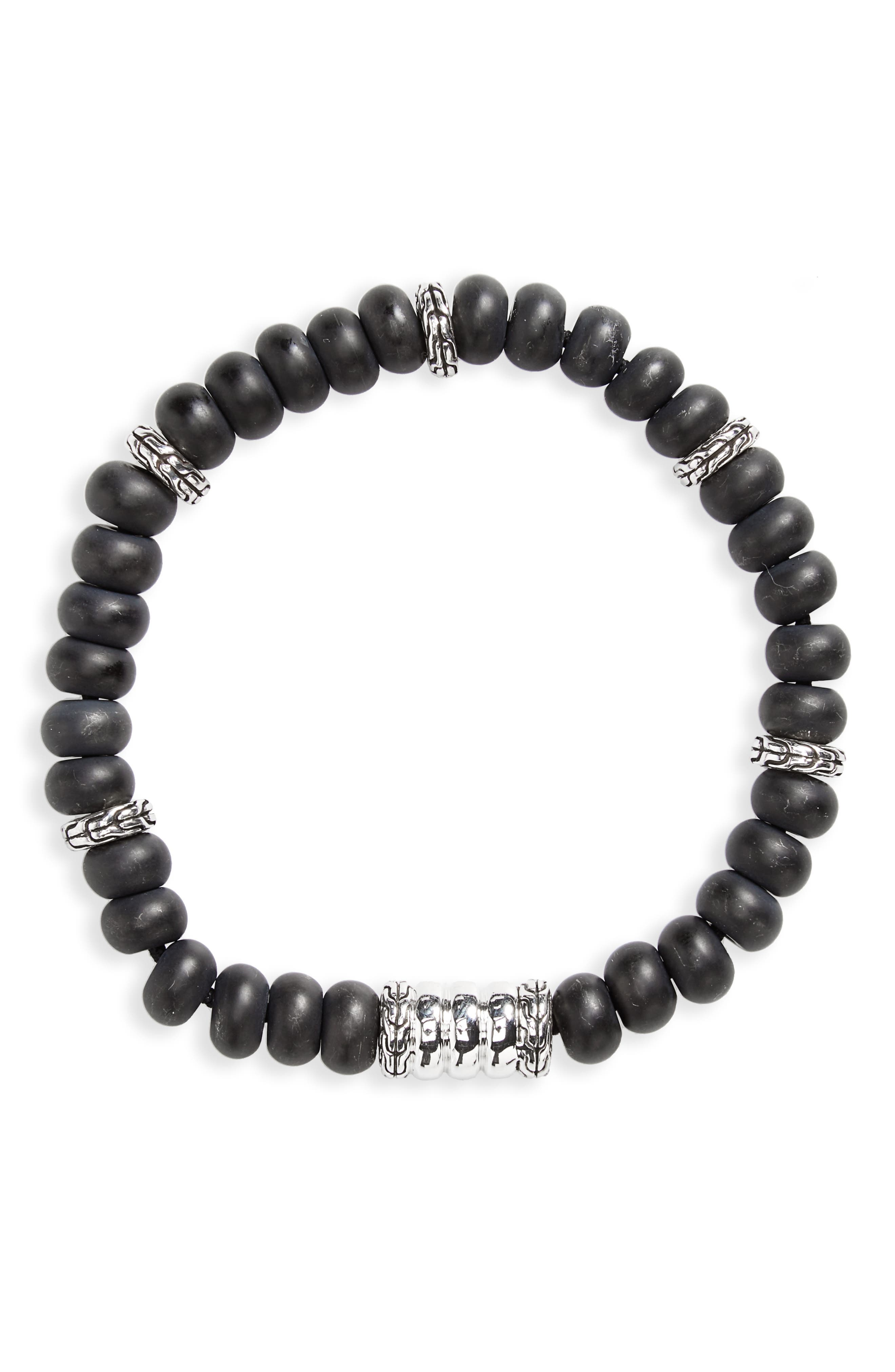 Heritage Bedeg Beaded Bracelet,                         Main,                         color, Silver/ Black Chalcedony