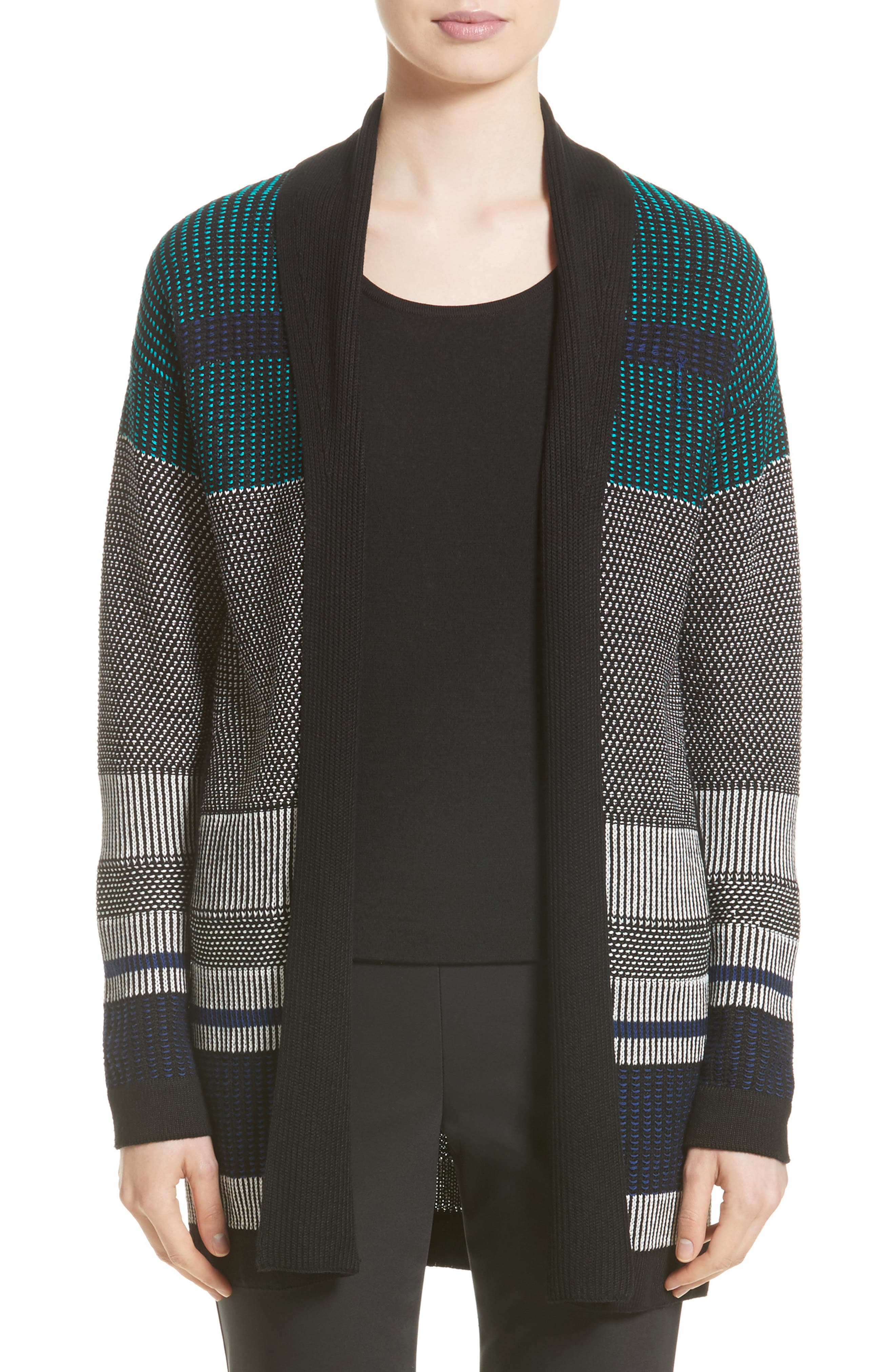 St. John Collection Engineered Inlay Stitch Knit Cardigan