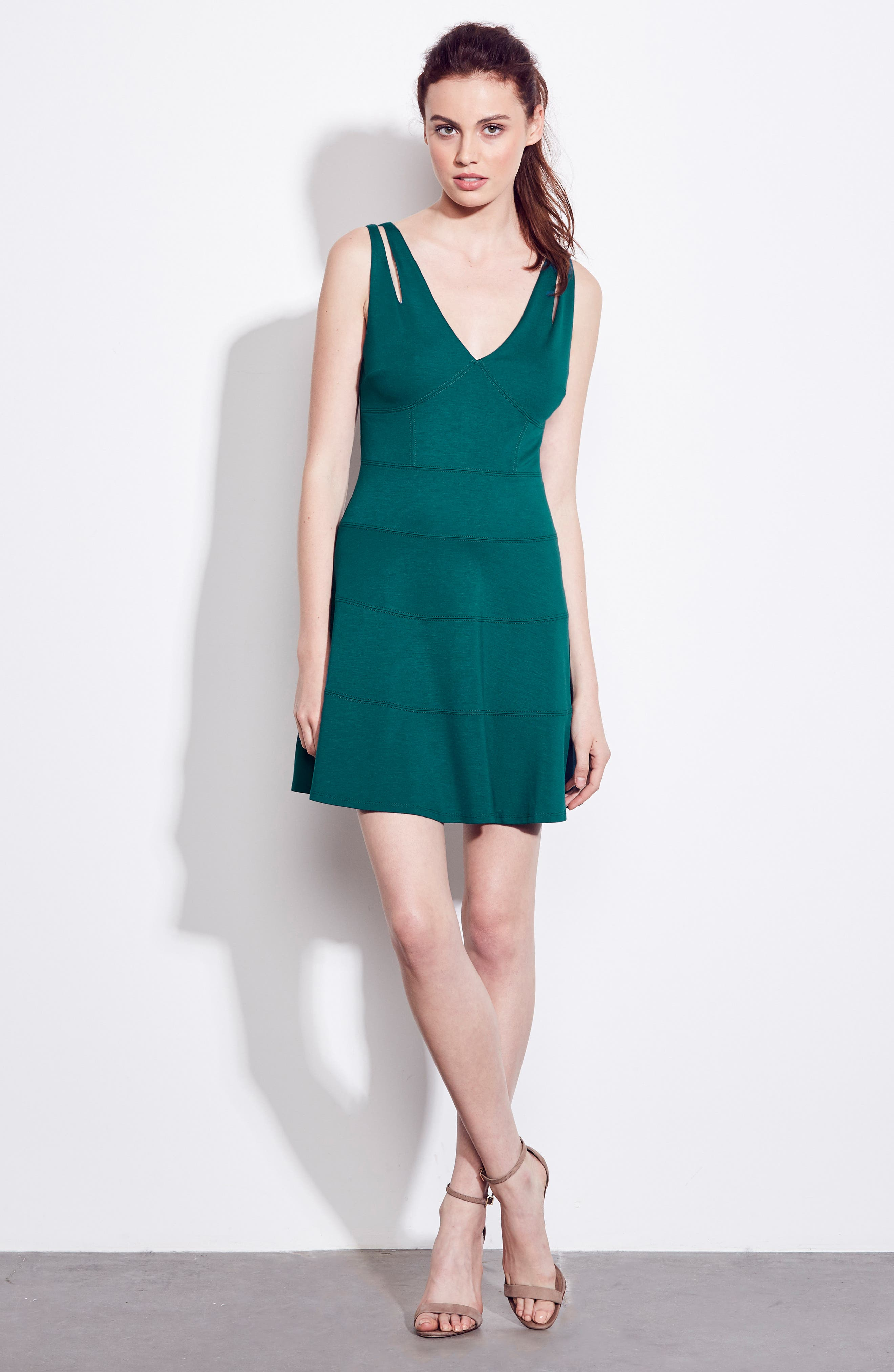 Te Quiero Fit & Flare Dress,                             Alternate thumbnail 2, color,                             Agave