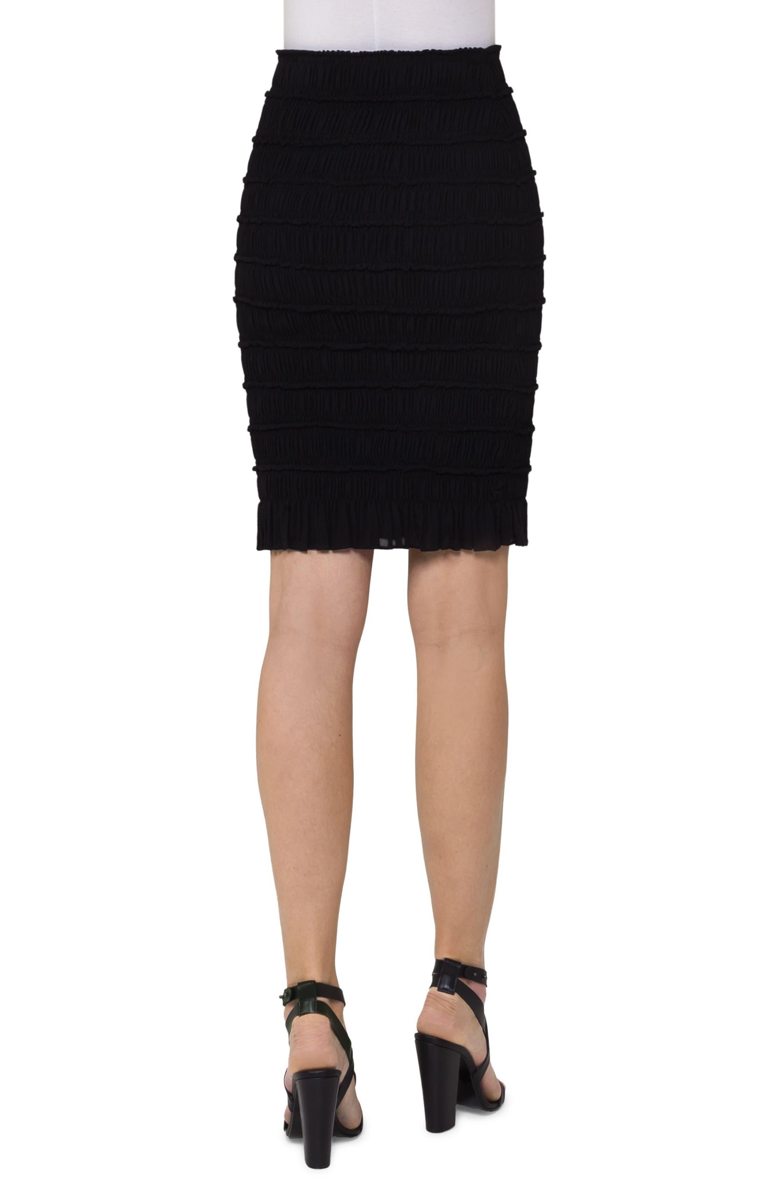 Smocked Wool Pencil Skirt,                             Alternate thumbnail 2, color,                             Black