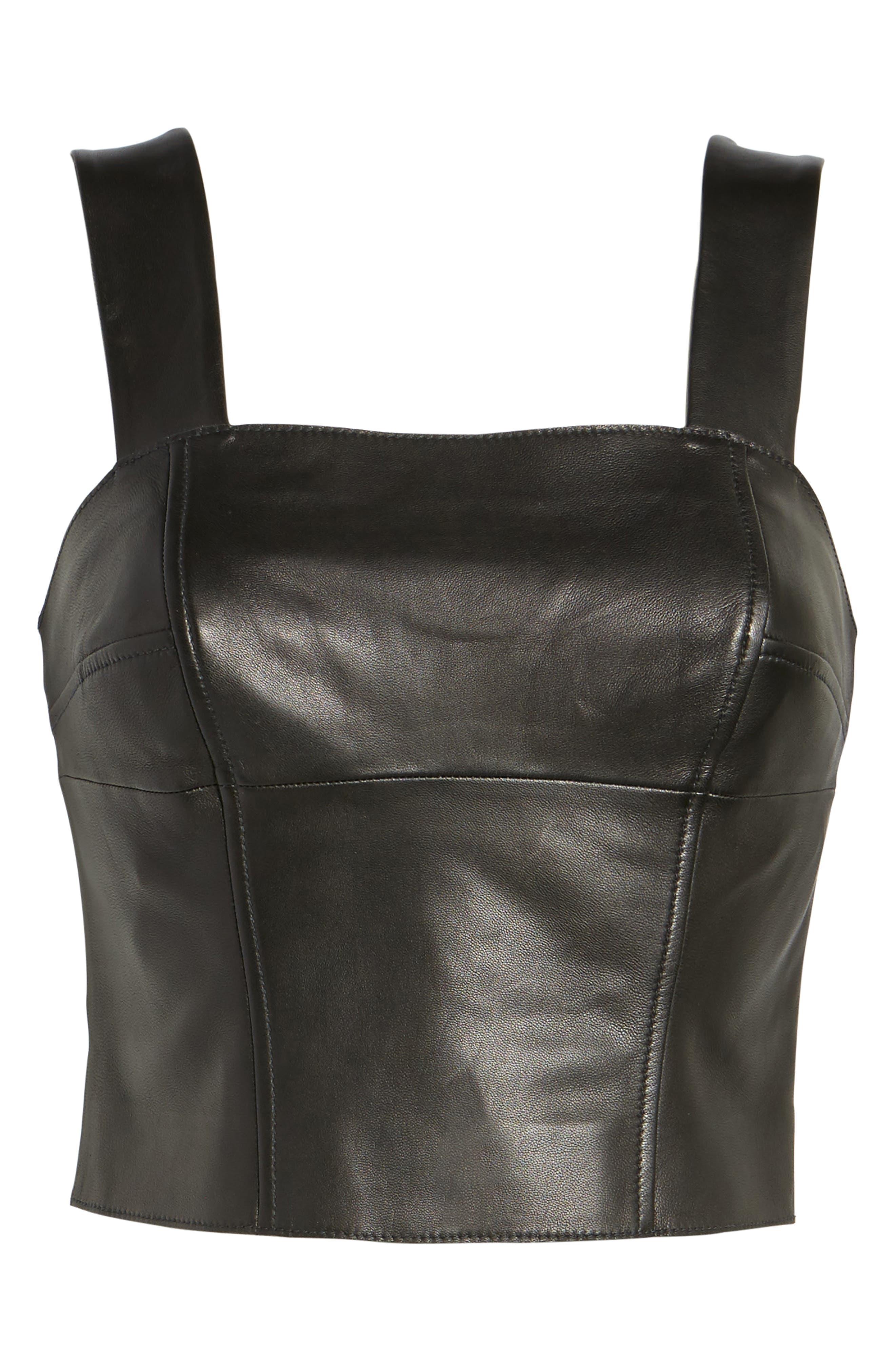 Leather Bustier,                             Alternate thumbnail 7, color,                             Black