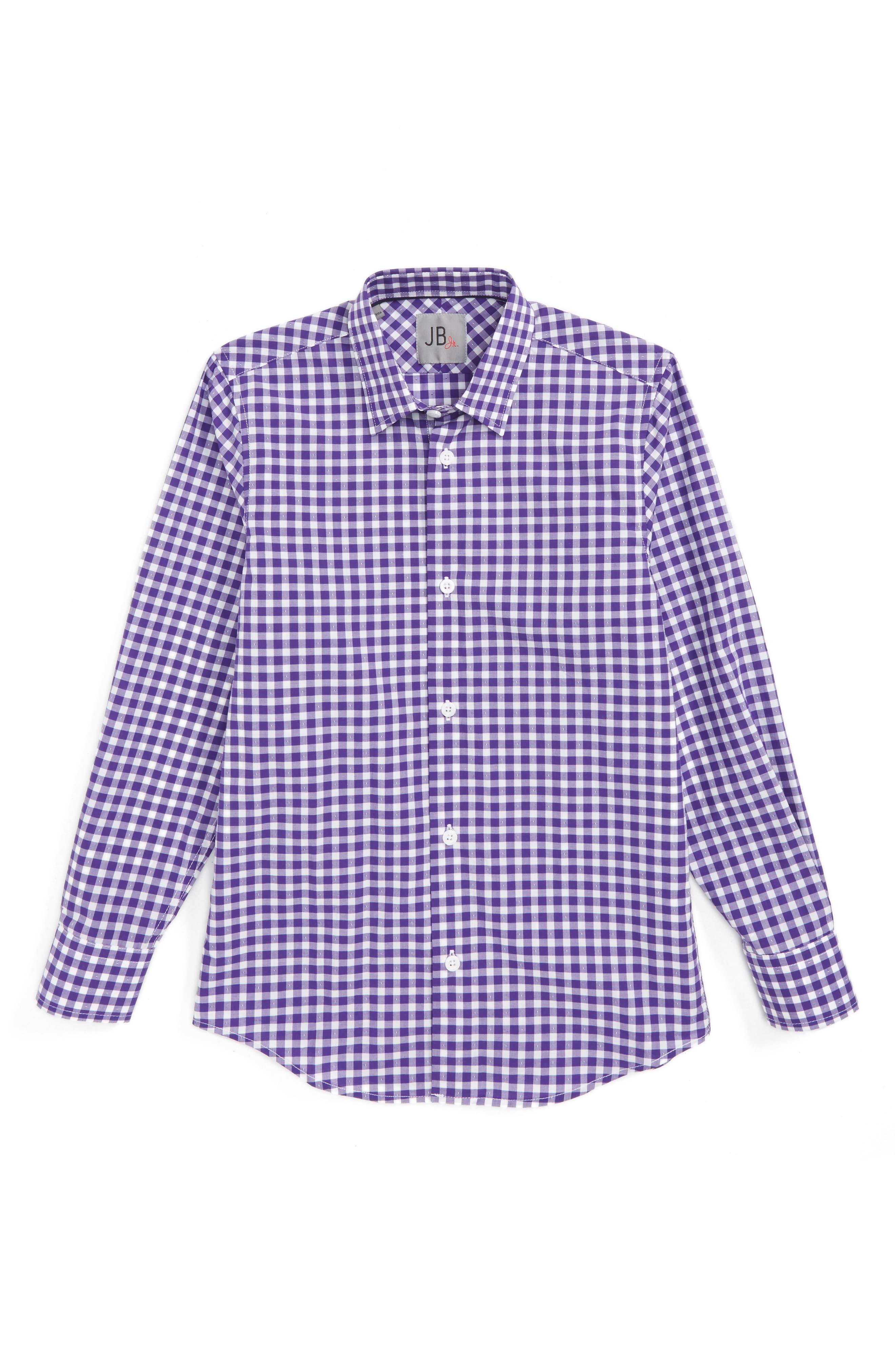 Main Image - JB Jr Check Dress Shirt (Big Boys)