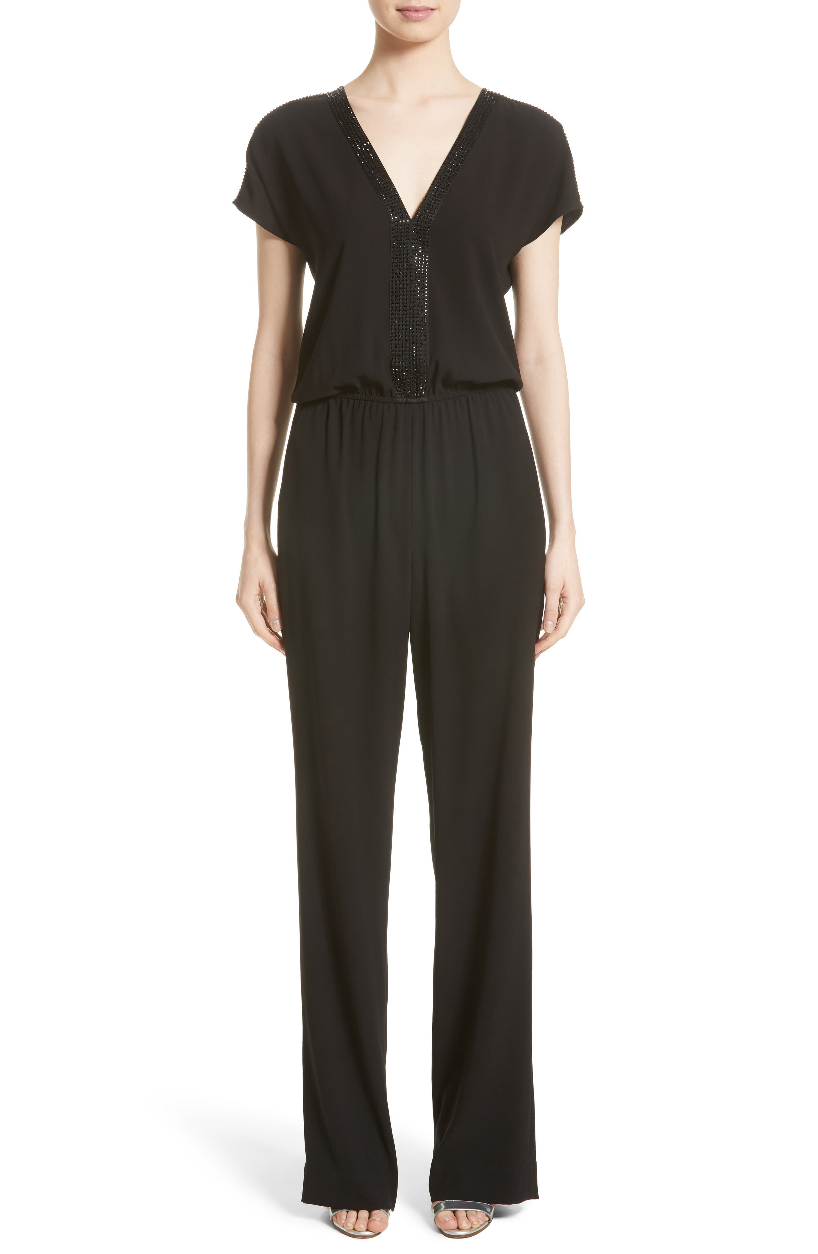 St. John Collection Satin Back Crepe Jumpsuit