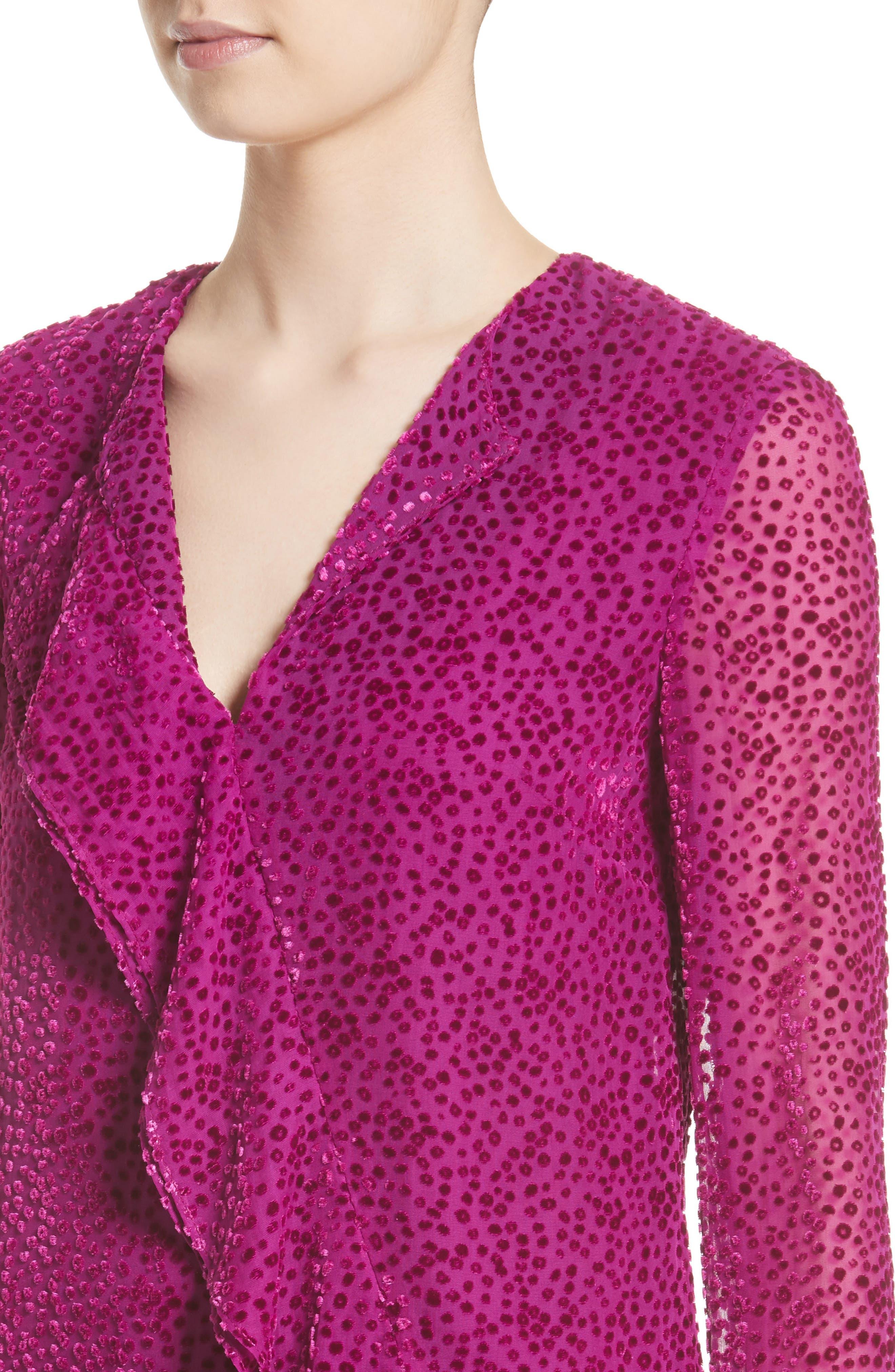 Alternate Image 4  - St. John Collection Velvet Polka Dot Asymmetrical Blouse