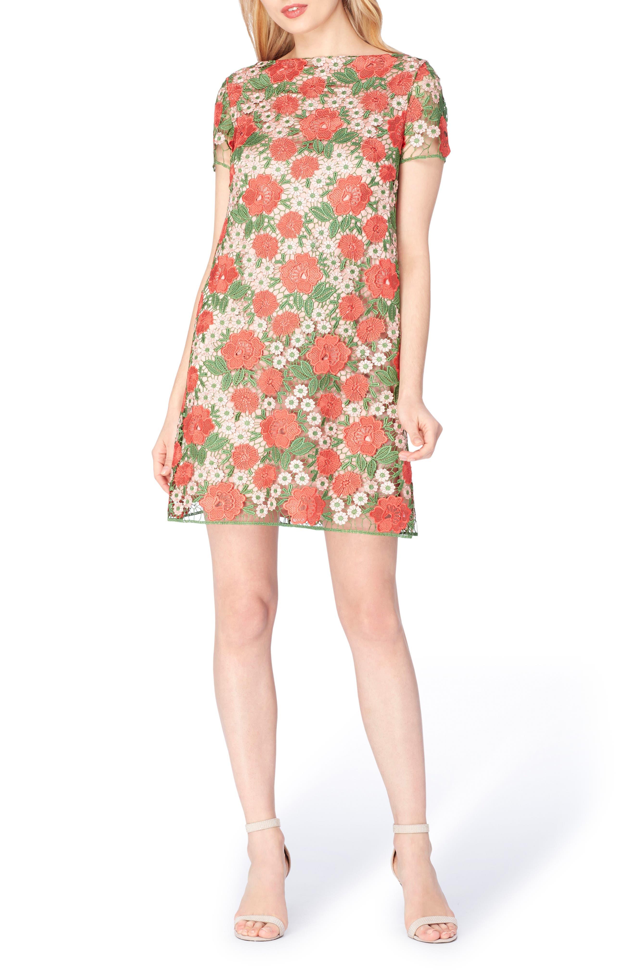 Alternate Image 1 Selected - Tahari Floral Lace Shift Dress (Regular & Petite)