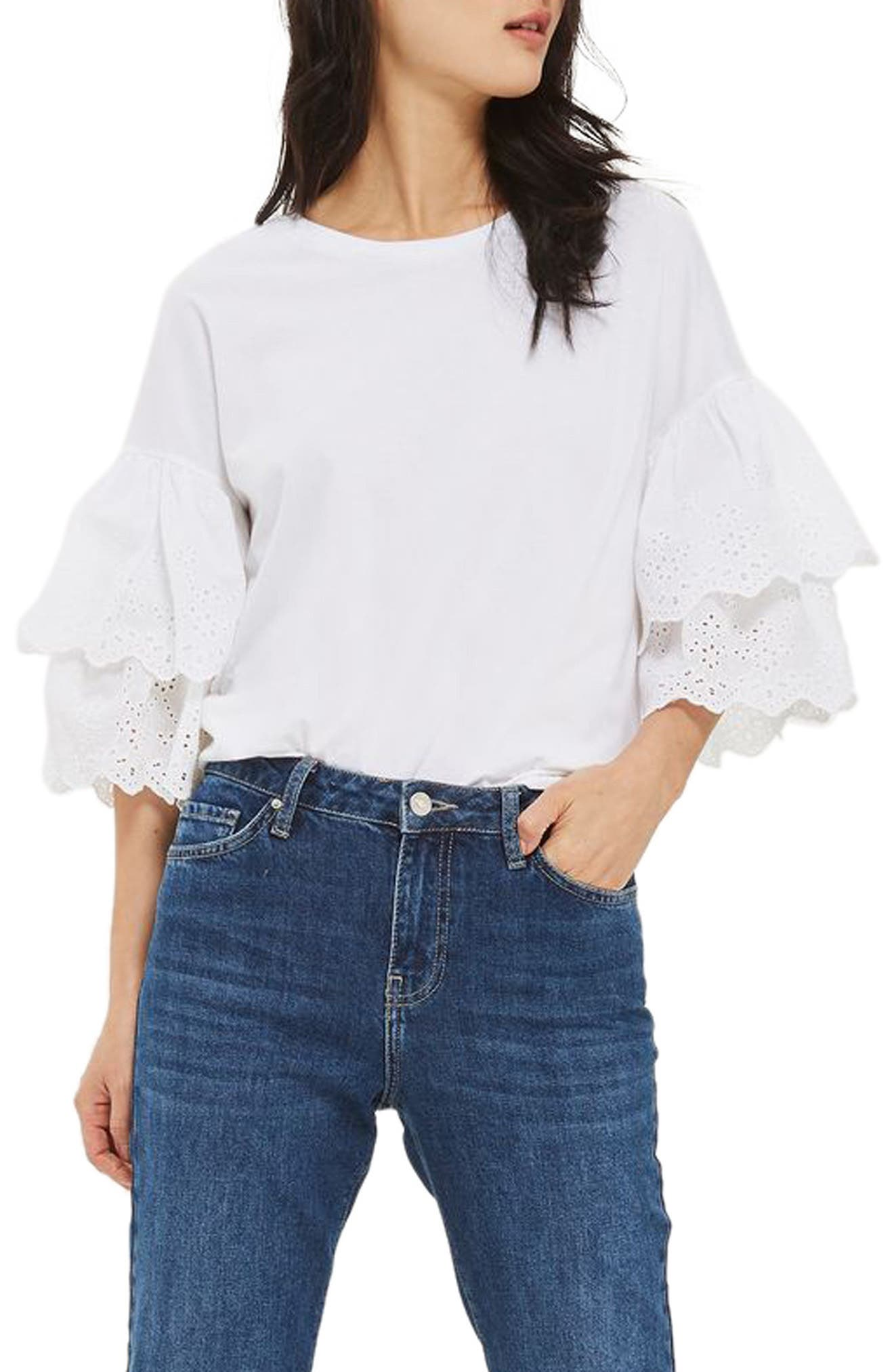 Eyelet Layer Sleeve Tee T-Shirt,                         Main,                         color, White