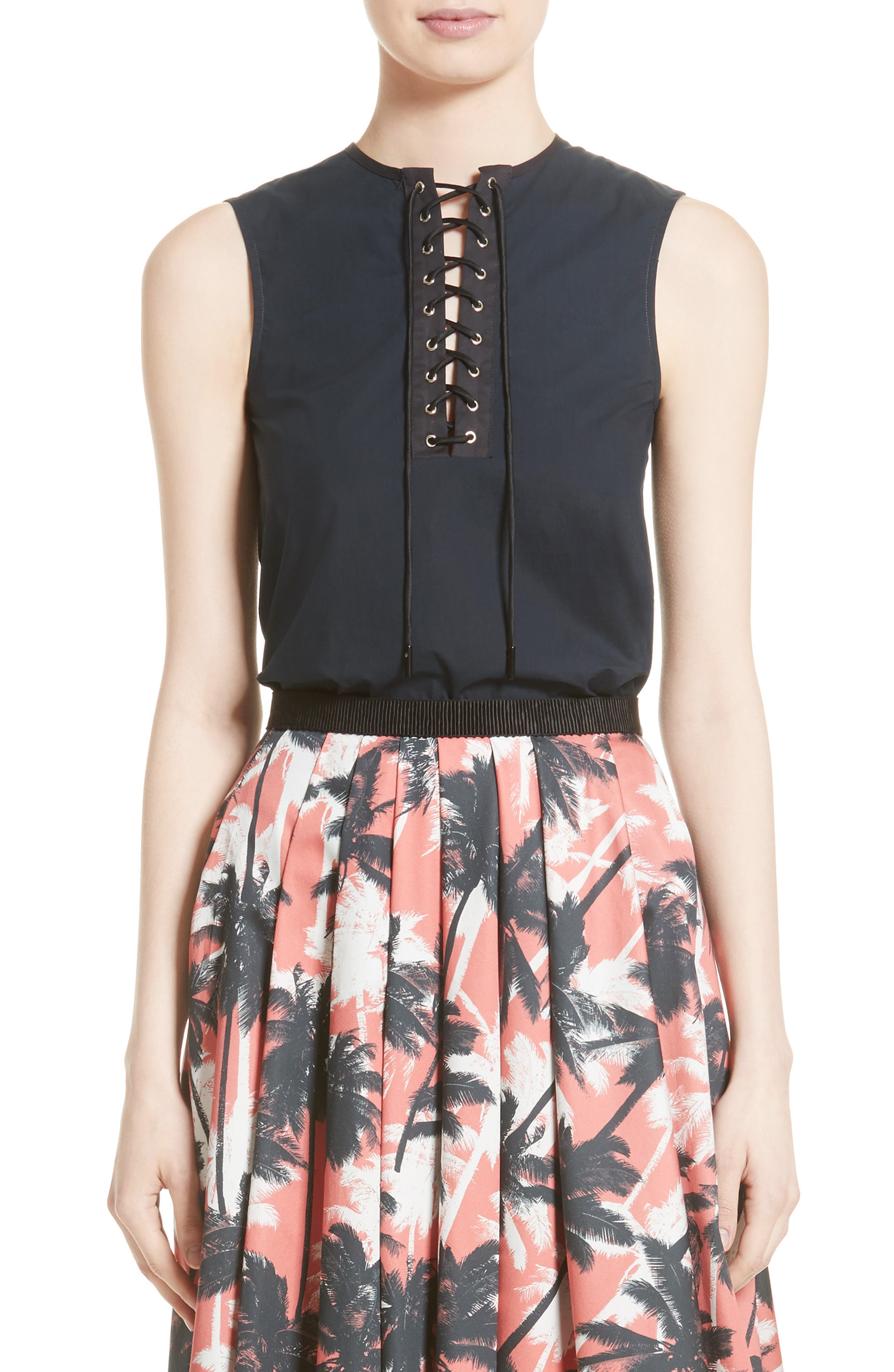 Lace-Up Silk Top,                         Main,                         color, Navy Black