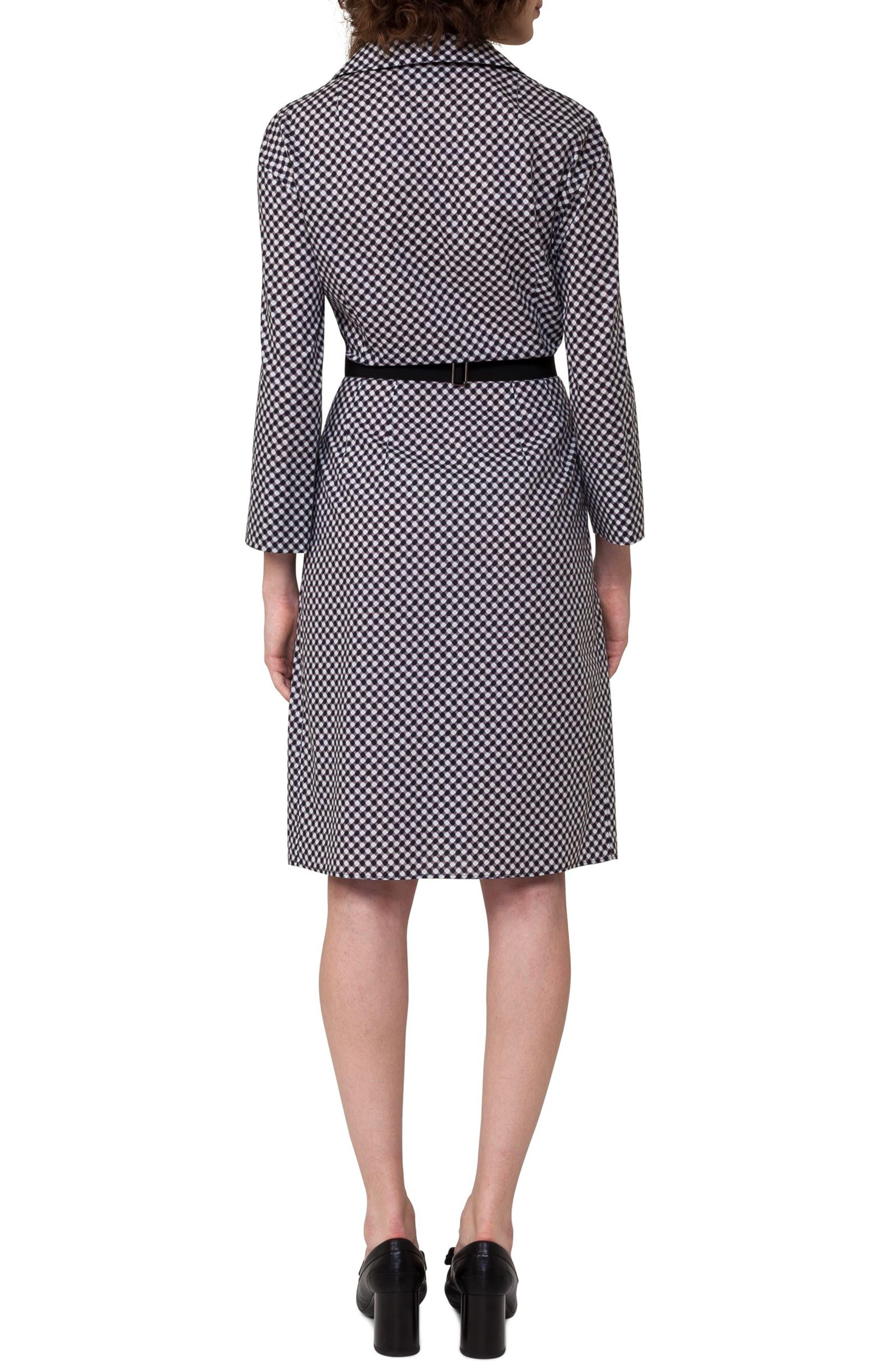Belted Check Cotton Dress,                             Alternate thumbnail 2, color,                             Crema/ Black