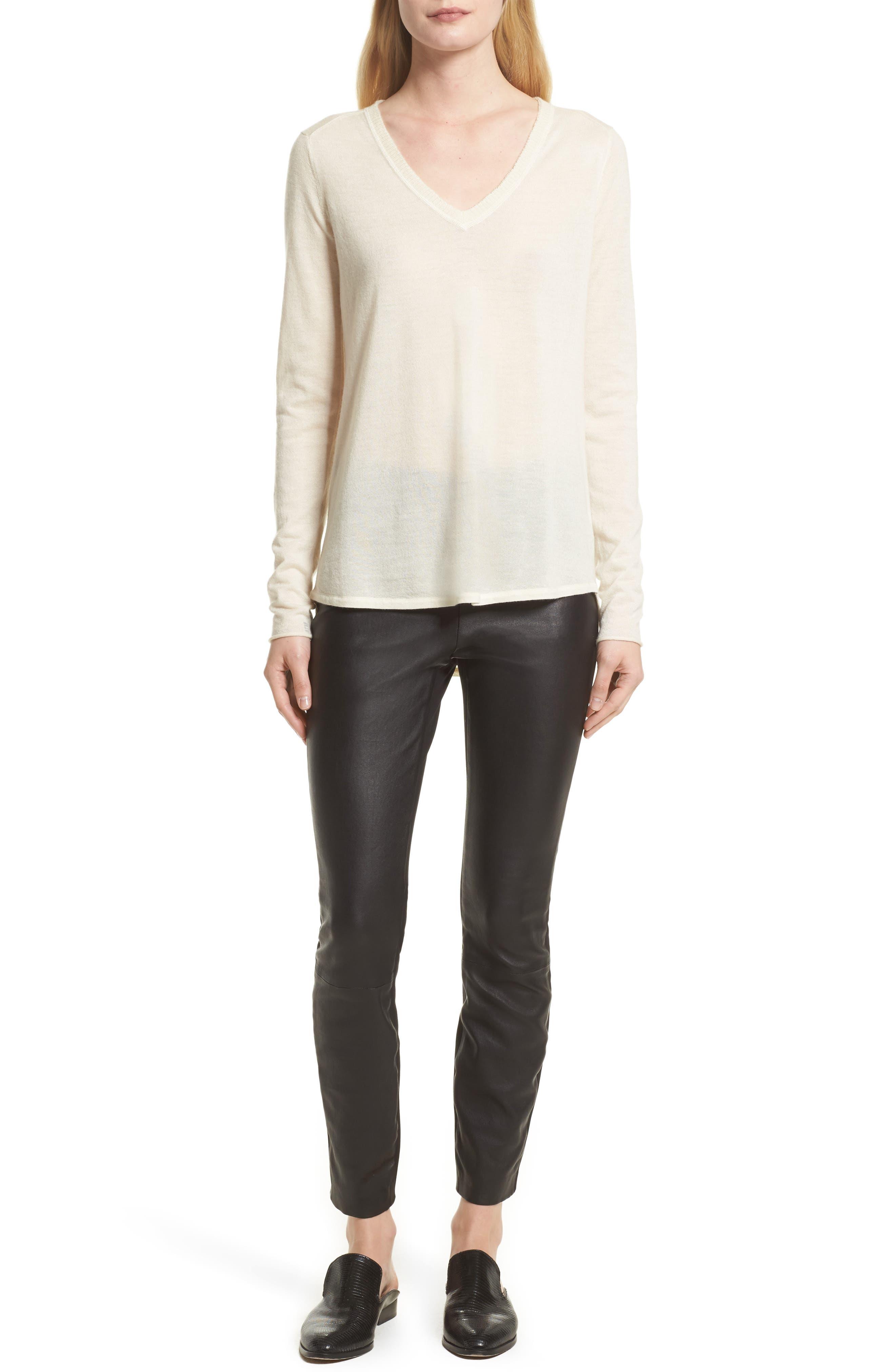Alternate Image 9  - rag & bone Josephine Leather Front Skinny Pants