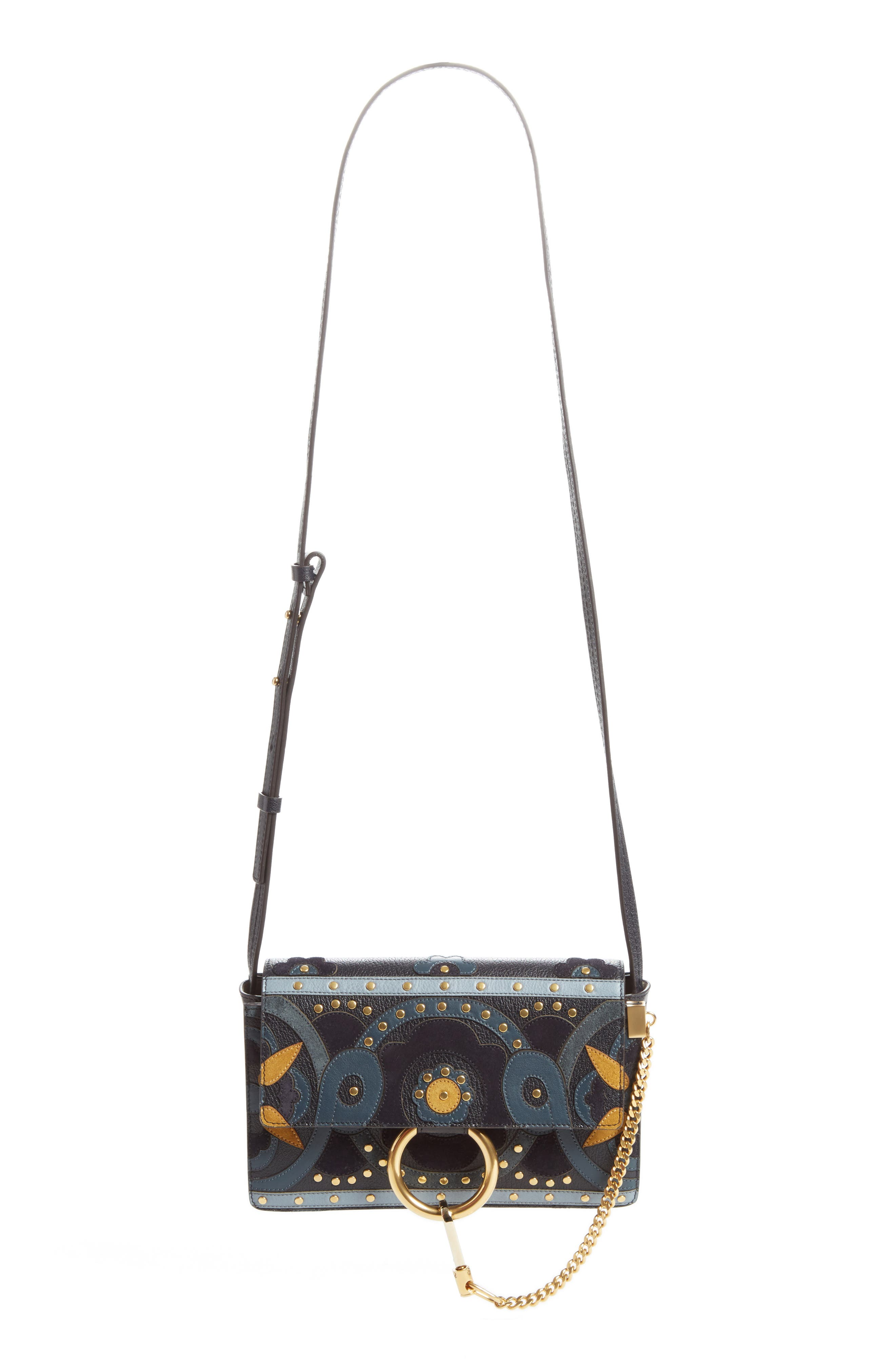 CHLOÉ Small Faye Studded Leather & Suede Crossbody Bag