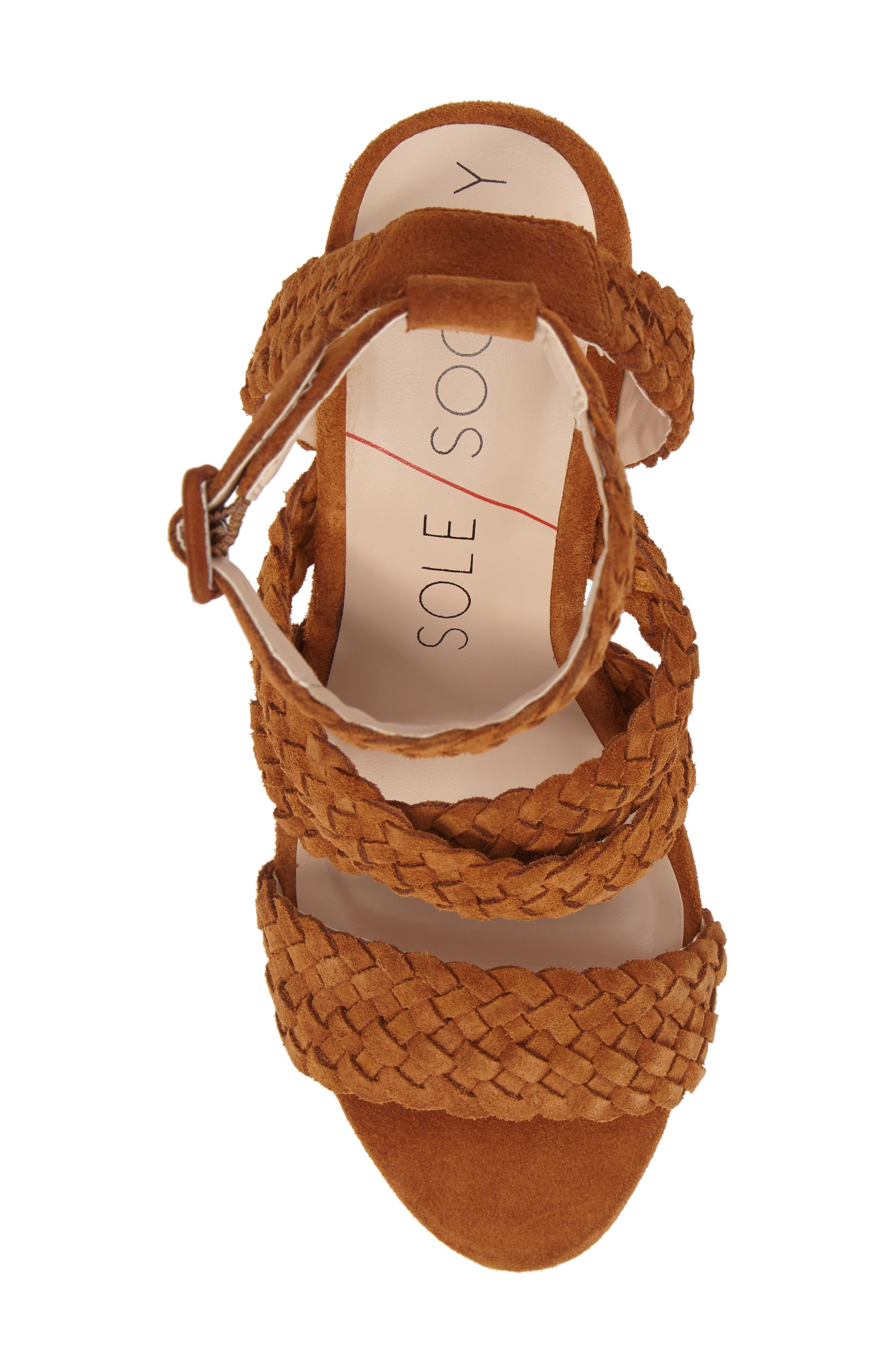 Evelina Block Heel Sandal,                             Alternate thumbnail 5, color,                             Chestnut