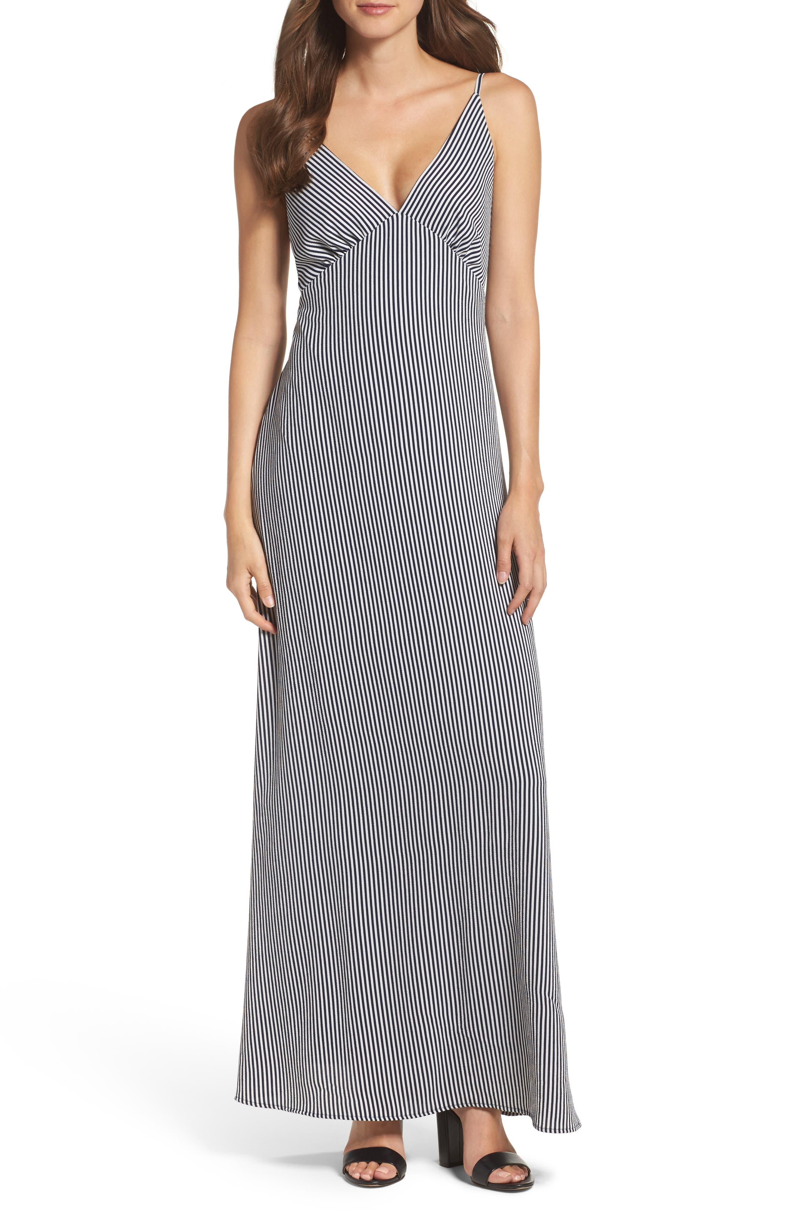 Stripe Stretch Maxi Dress,                         Main,                         color, Navy