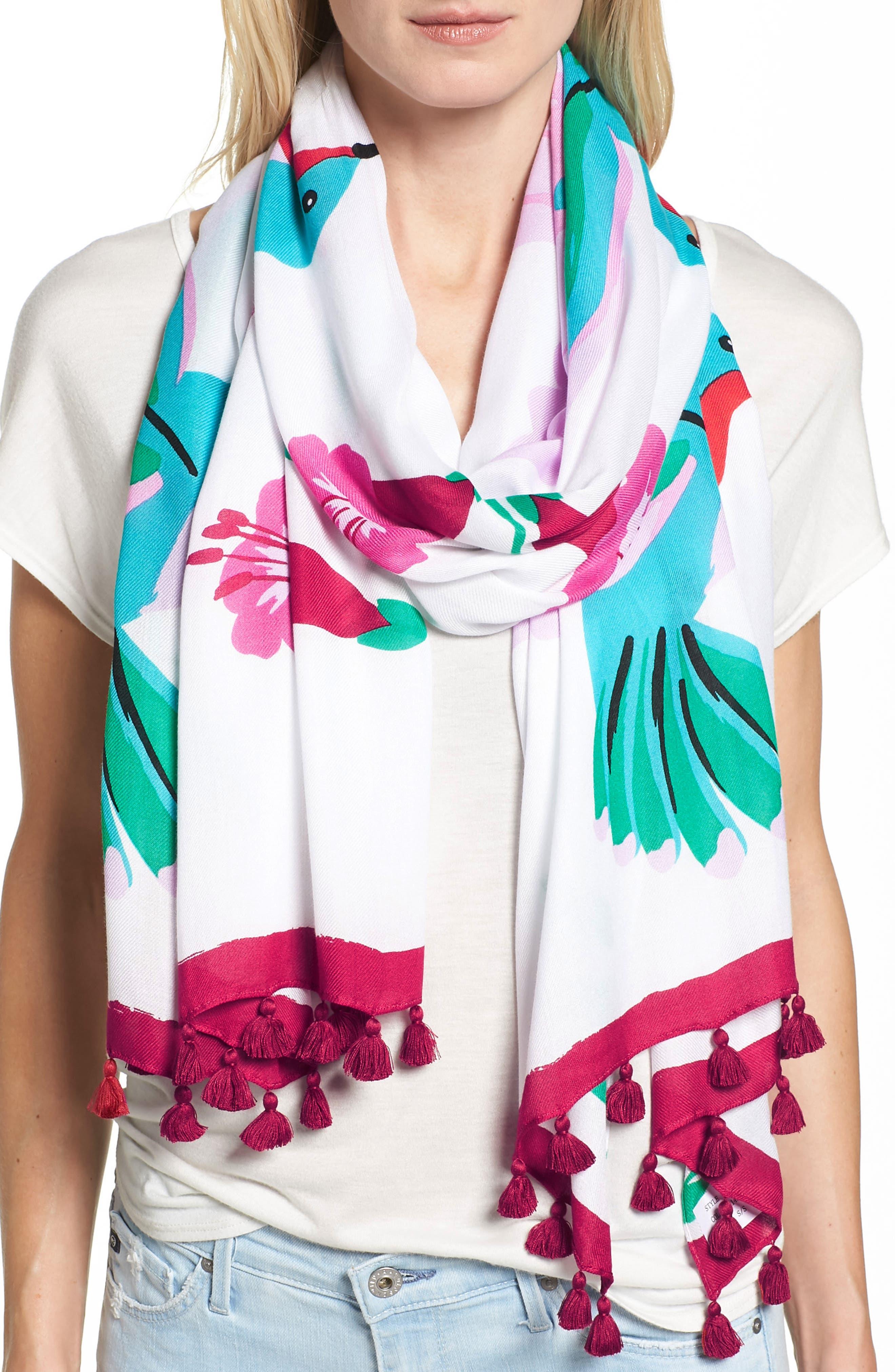 hummingbird oblong scarf,                         Main,                         color, Bougainvillea