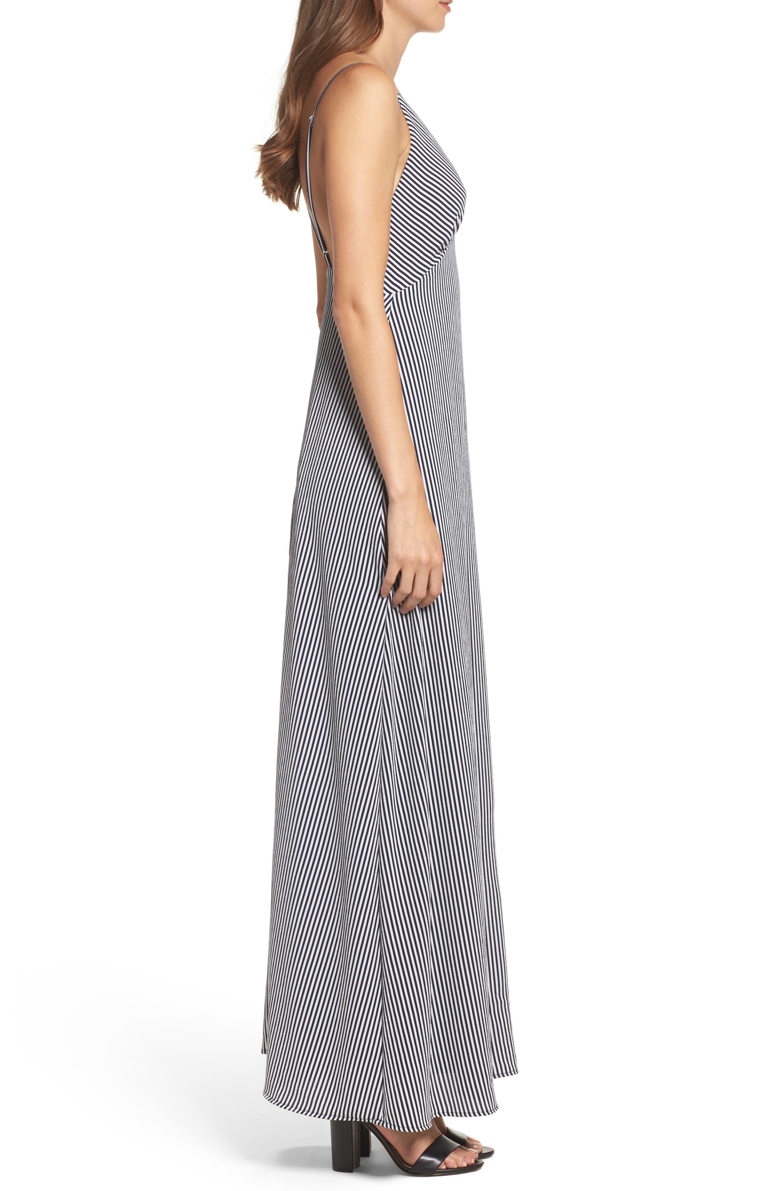 Stripe Stretch Maxi Dress,                             Alternate thumbnail 3, color,                             Navy