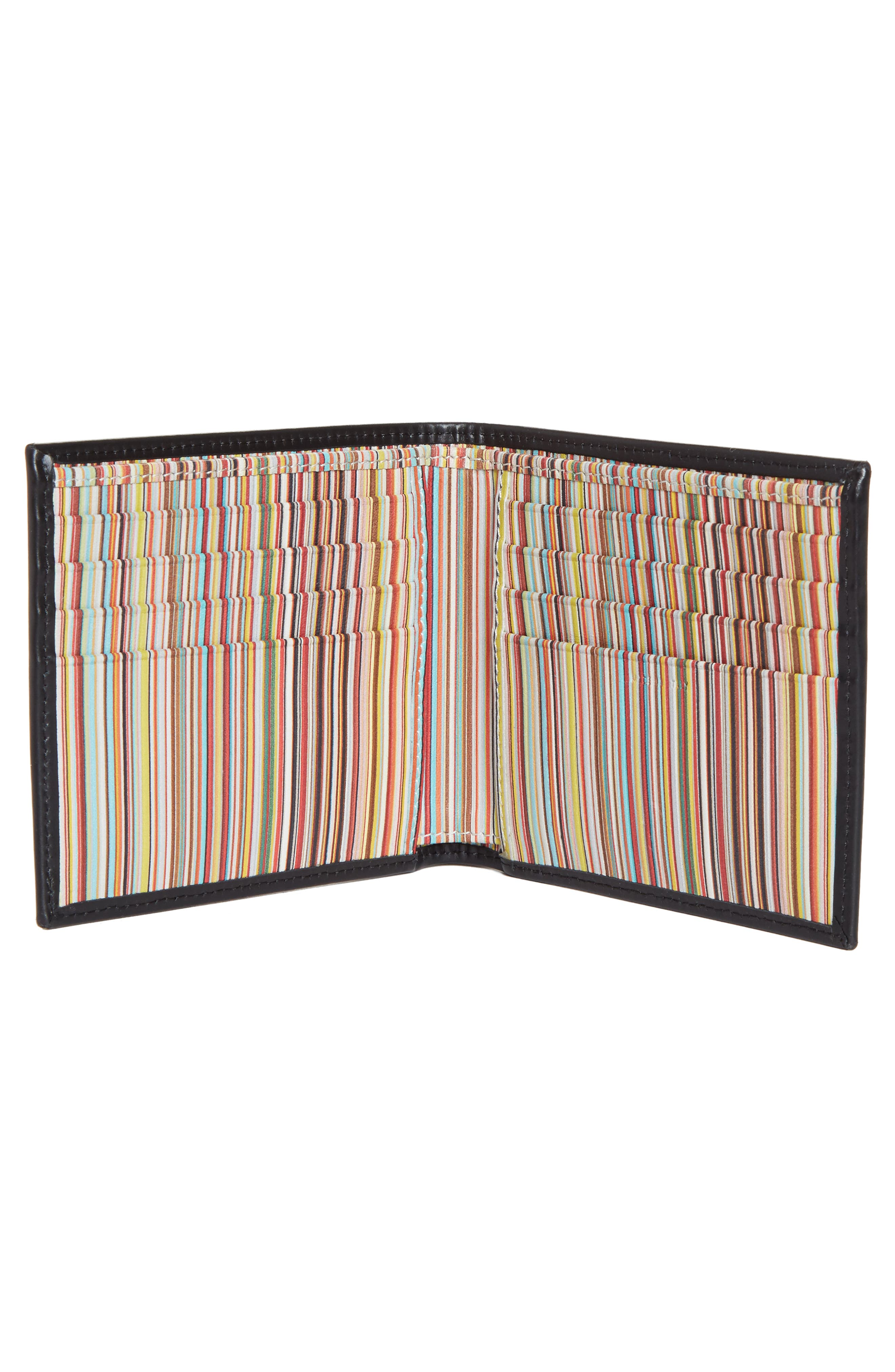 Multistripe Leather Wallet,                             Alternate thumbnail 2, color,                             Black