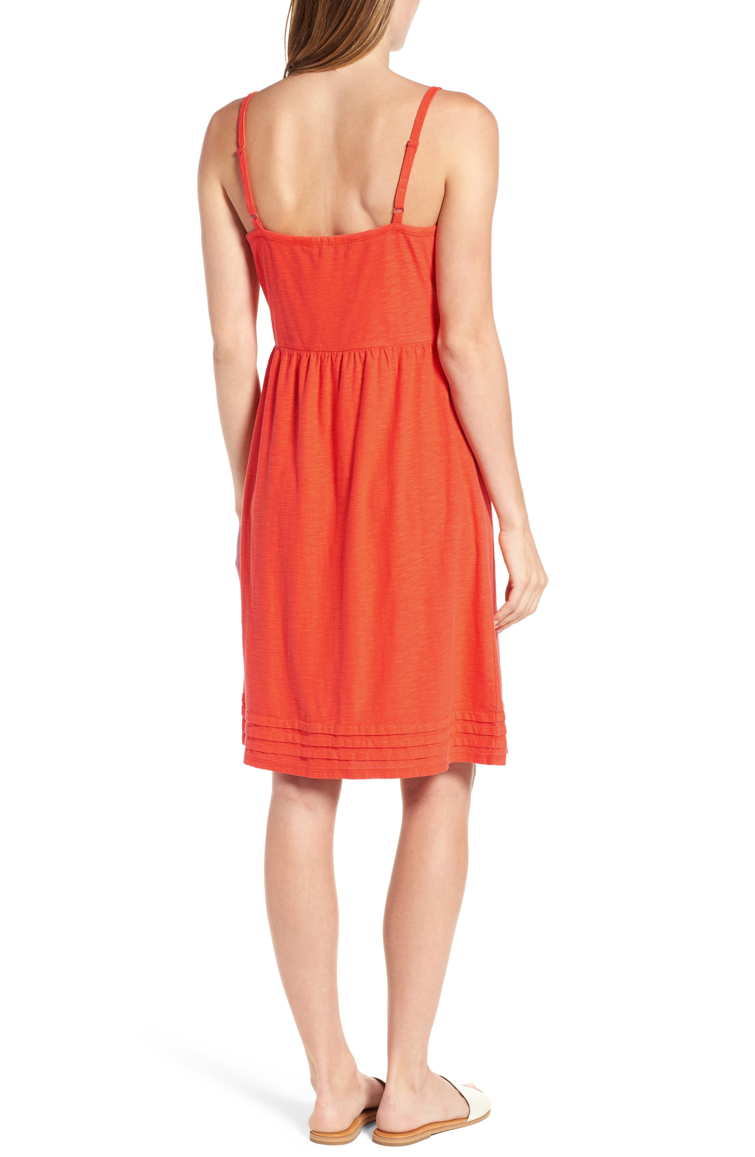Arden Pleat Jersey Sundress,                             Alternate thumbnail 2, color,                             Blazing Orange
